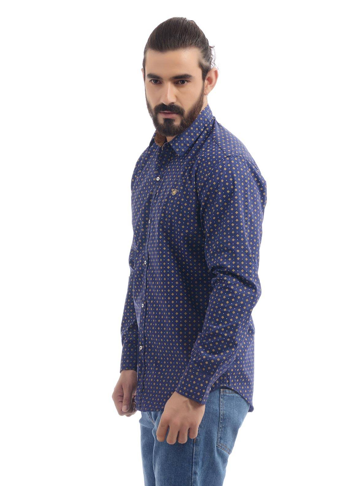 Shahzeb Saeed Cotton Casual Shirts for Men - Blue CSW-89