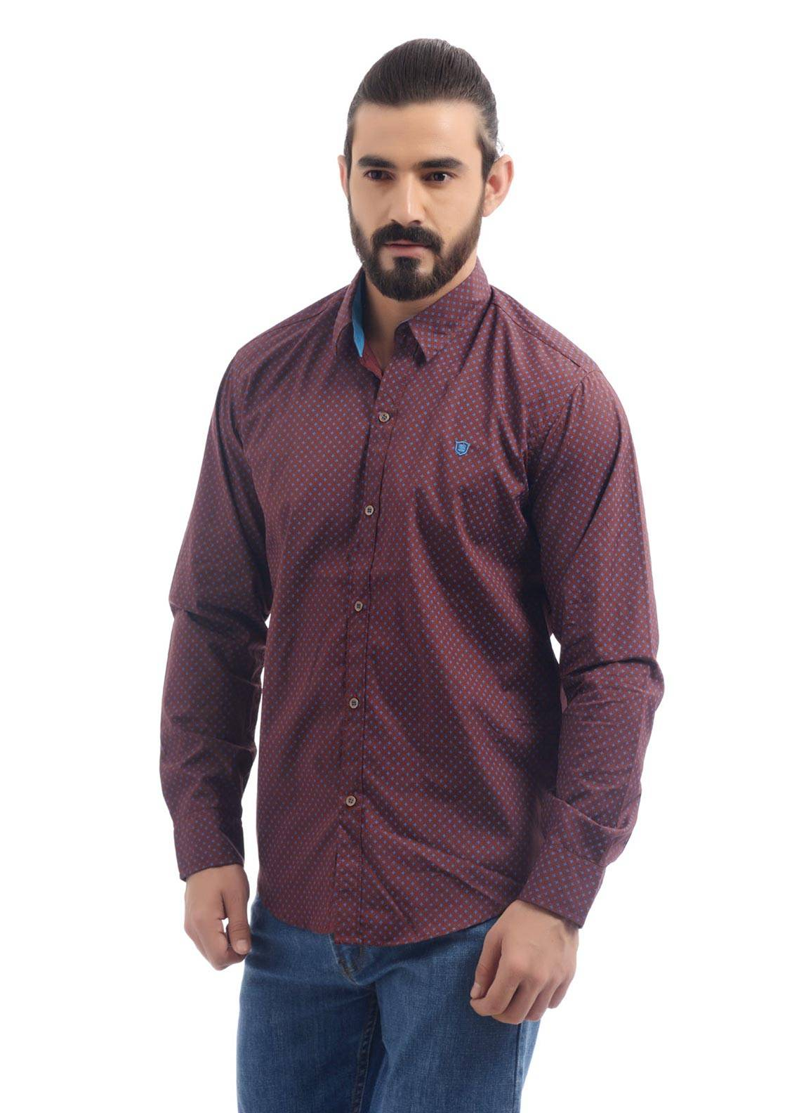 Shahzeb Saeed Cotton Casual Shirts for Men - Brown CSW-94