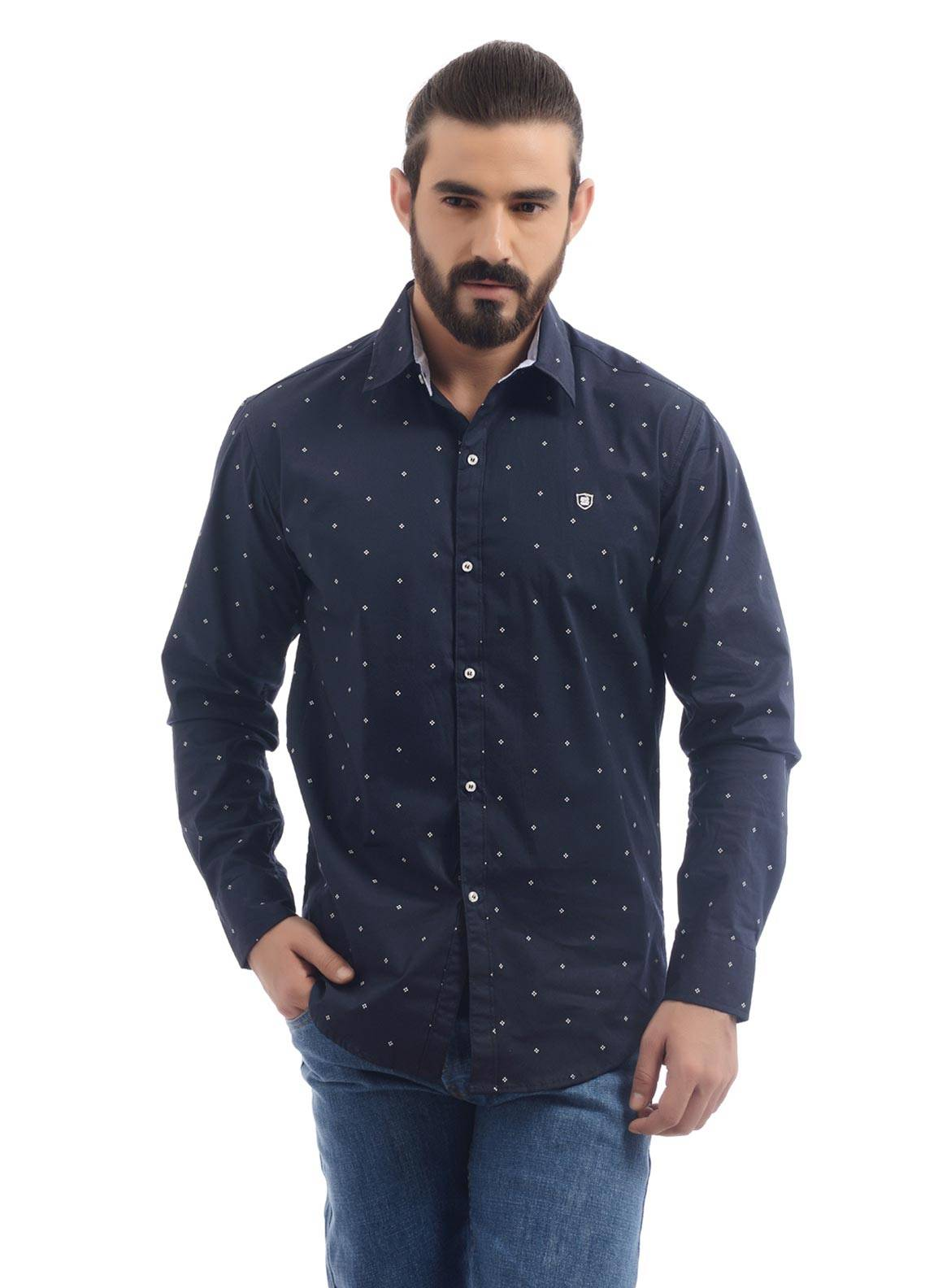 Shahzeb Saeed Cotton Casual Shirts for Men - Navy Blue CSW-96