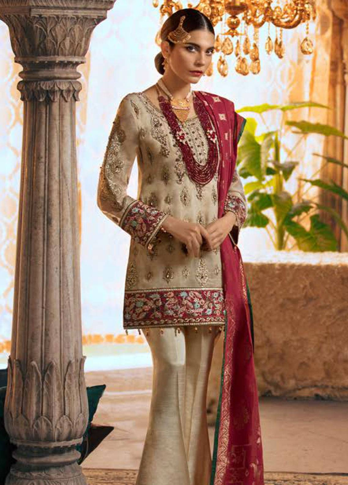804bb8c698 Maryum N Maria Embroidered Chiffon Unstitched 3 Piece Suit SMM19LC 08 Pien  - Luxury Collection