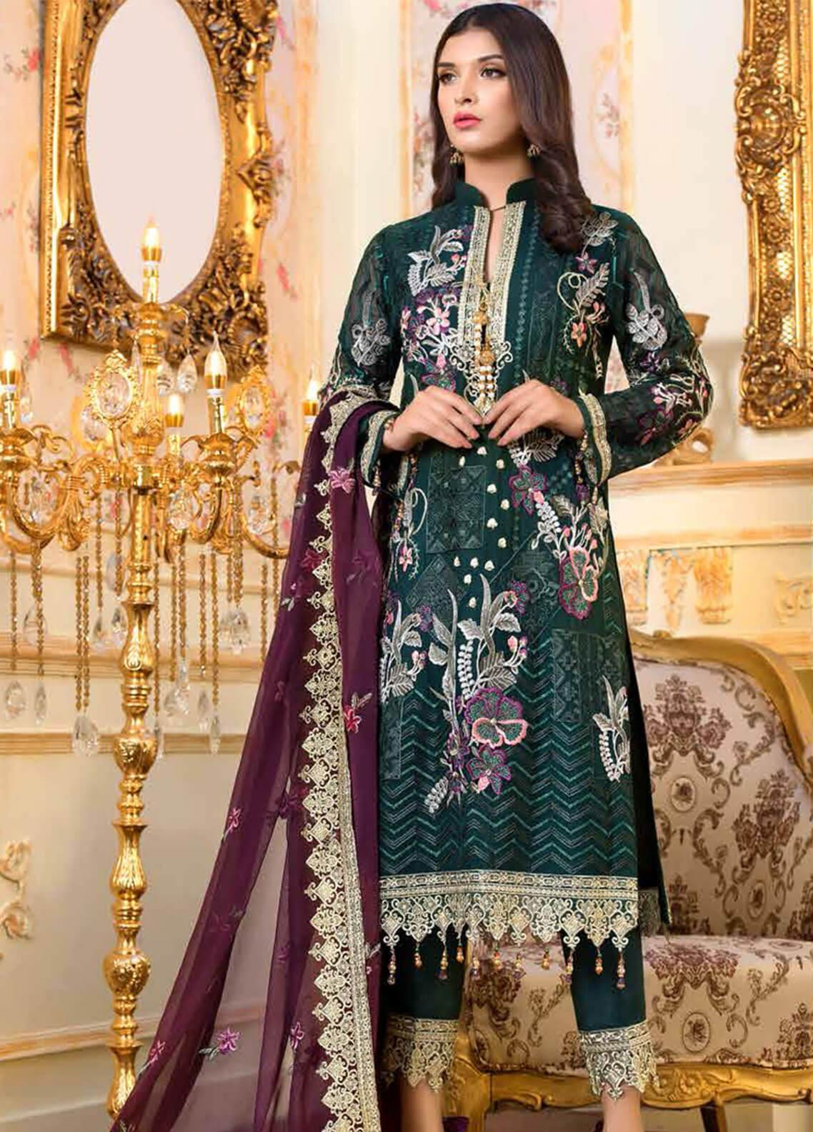 bc712de4ef Shamrock by Maryum N Maria Embroidered Chiffon Unstitched 3 Piece Suit  SMM19C 701 - Premium Collection