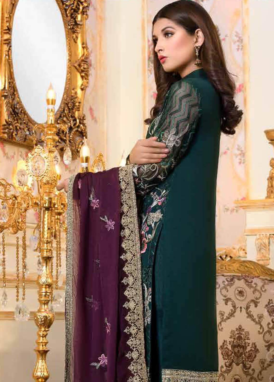 f5bb0dce33 Shamrock by Maryum N Maria Embroidered Chiffon Unstitched 3 Piece Suit  SMM19C 701 - Premium Collection