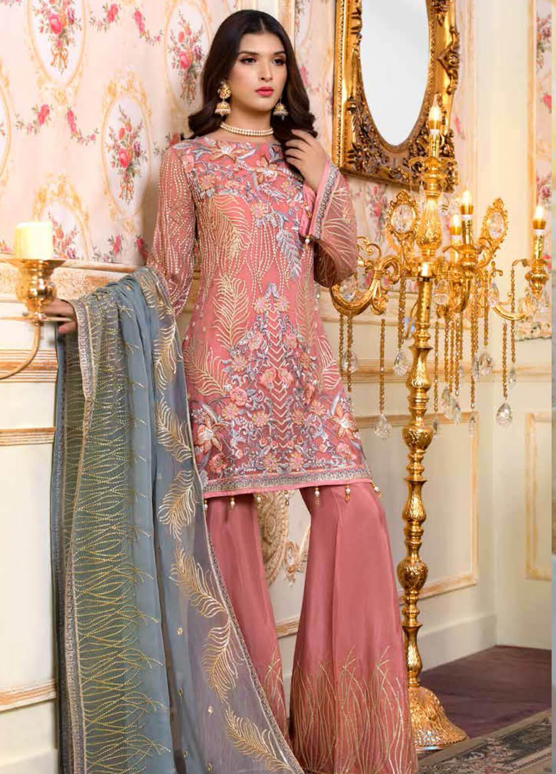 Shamrock by Maryum N Maria Embroidered Chiffon Unstitched 3 Piece Suit SMM19C 702 - Premium Collection