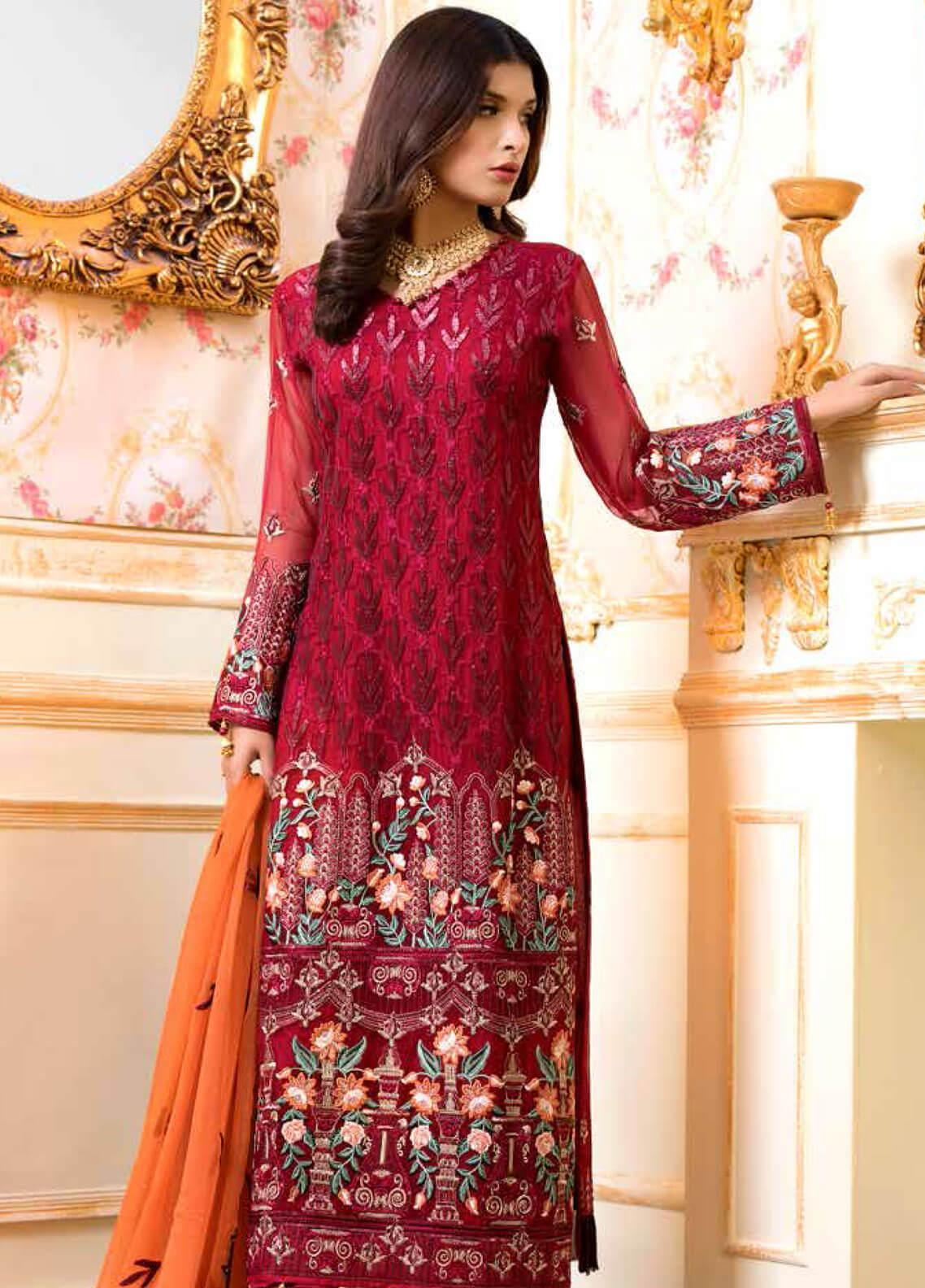 Shamrock by Maryum N Maria Embroidered Chiffon Unstitched 3 Piece Suit SMM19C 703 - Premium Collection