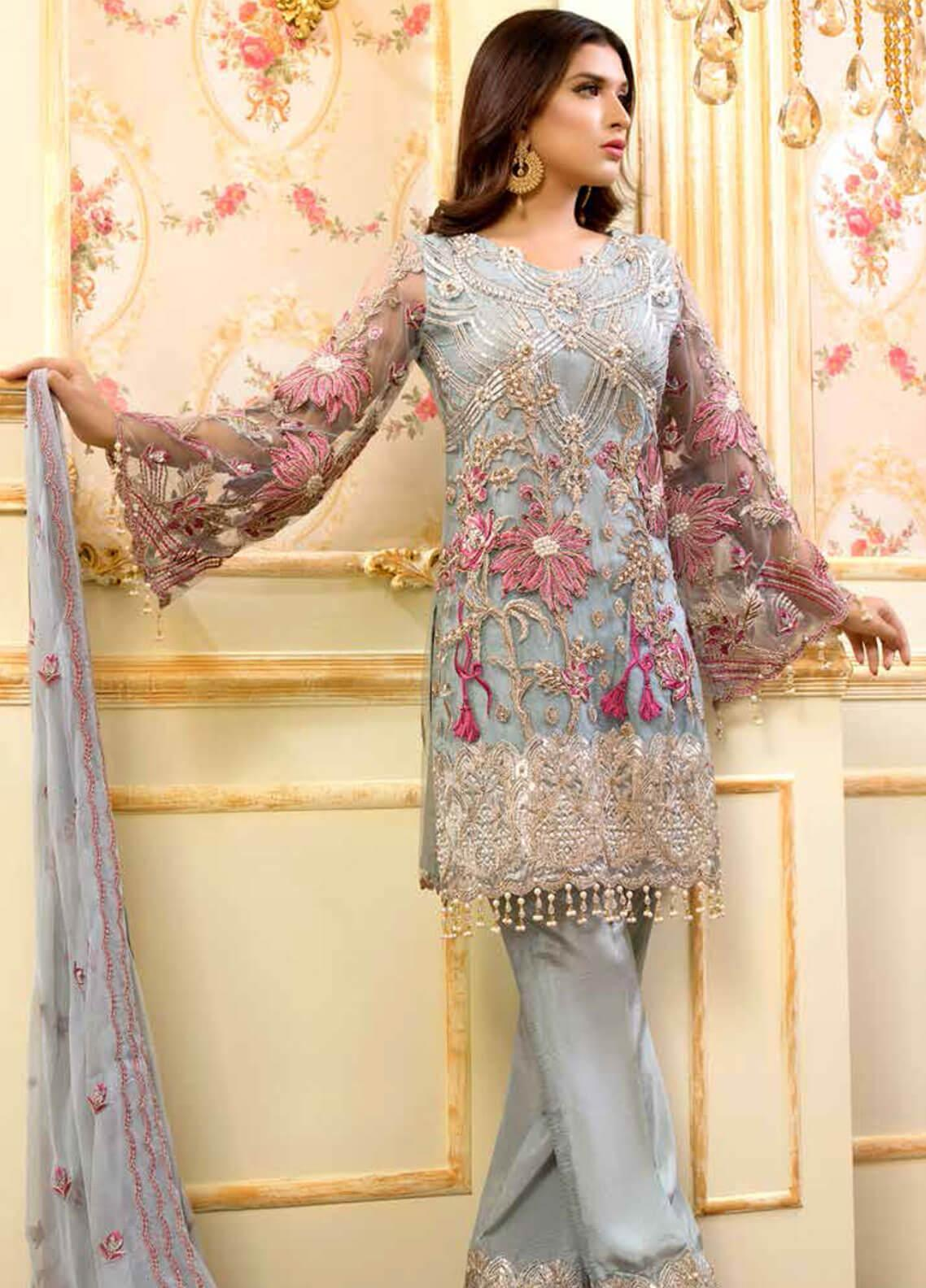 Shamrock by Maryum N Maria Embroidered Zari Net Unstitched 3 Piece Suit SMM19C 704 - Premium Collection