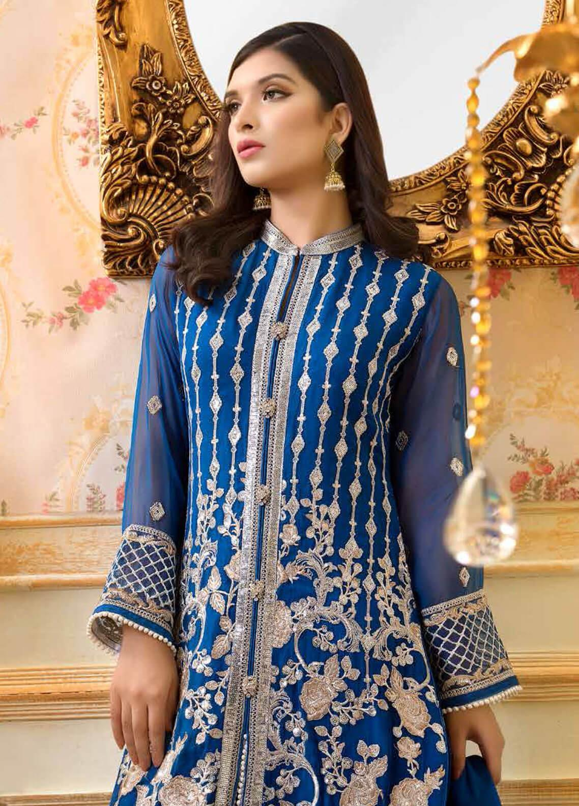 7419d5e89e Shamrock by Maryum N Maria Embroidered Chiffon Unstitched 3 Piece Suit  SMM19C 706 - Premium Collection