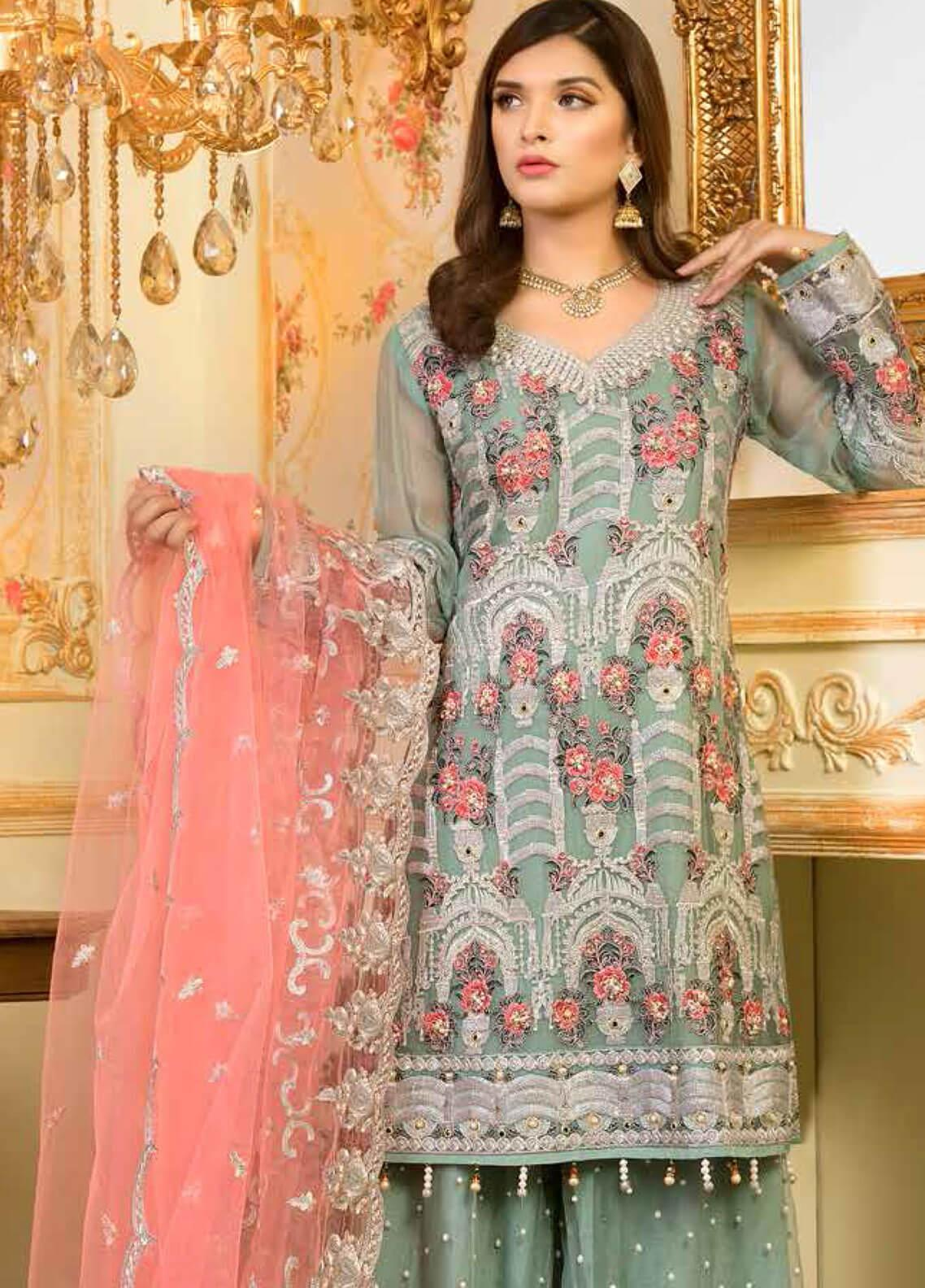5eb4b27189 Shamrock by Maryum N Maria Embroidered Chiffon Unstitched 3 Piece Suit  SMM19C 707 - Premium Collection