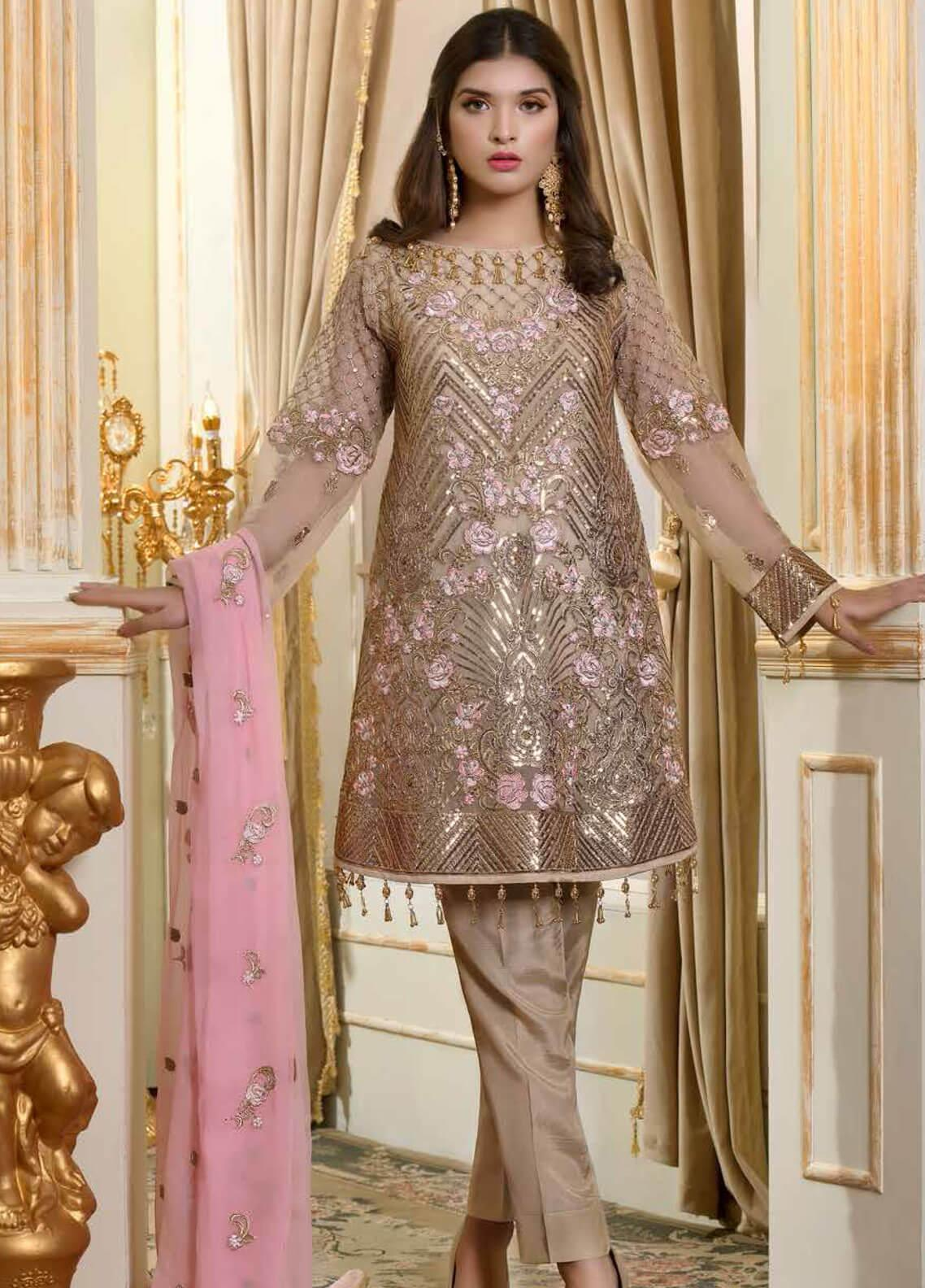 ff9e394b36 Shamrock by Maryum N Maria Embroidered Chiffon Unstitched 3 Piece Suit  SMM19C 708 - Premium Collection
