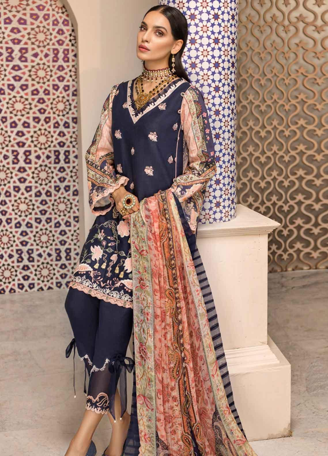 Shanaya by Saadia Asad Embroidered Lawn Unstitched 3 Piece Suit SSA19F 03 - Festive Collection