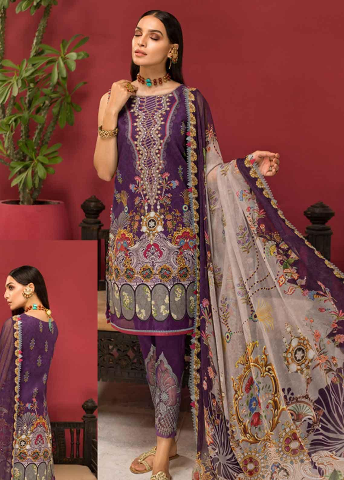Shanaya by Saadia Asad Embroidered Lawn Unstitched 3 Piece Suit SSA19F 10 - Festive Collection