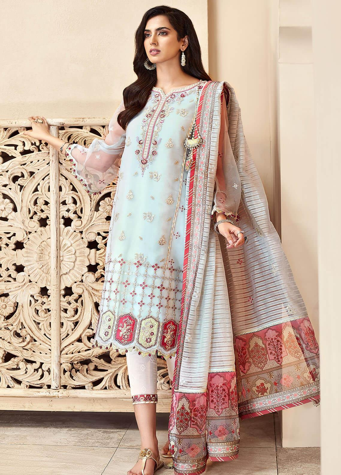 Shanaya by Saadia Asad Embroidered Organza Unstitched 3 Piece Suit SA20SH D1-B - Festive Collection