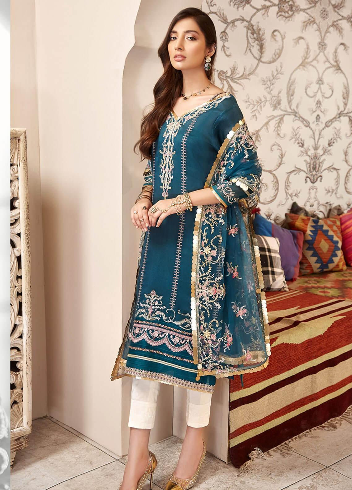 Shanaya by Saadia Asad Embroidered Cotton Net Unstitched 3 Piece Suit SA20SH D3-A - Festive Collection