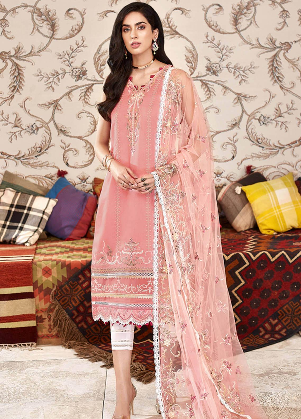 Shanaya by Saadia Asad Embroidered Cotton Net Unstitched 3 Piece Suit SA20SH D3-B - Festive Collection