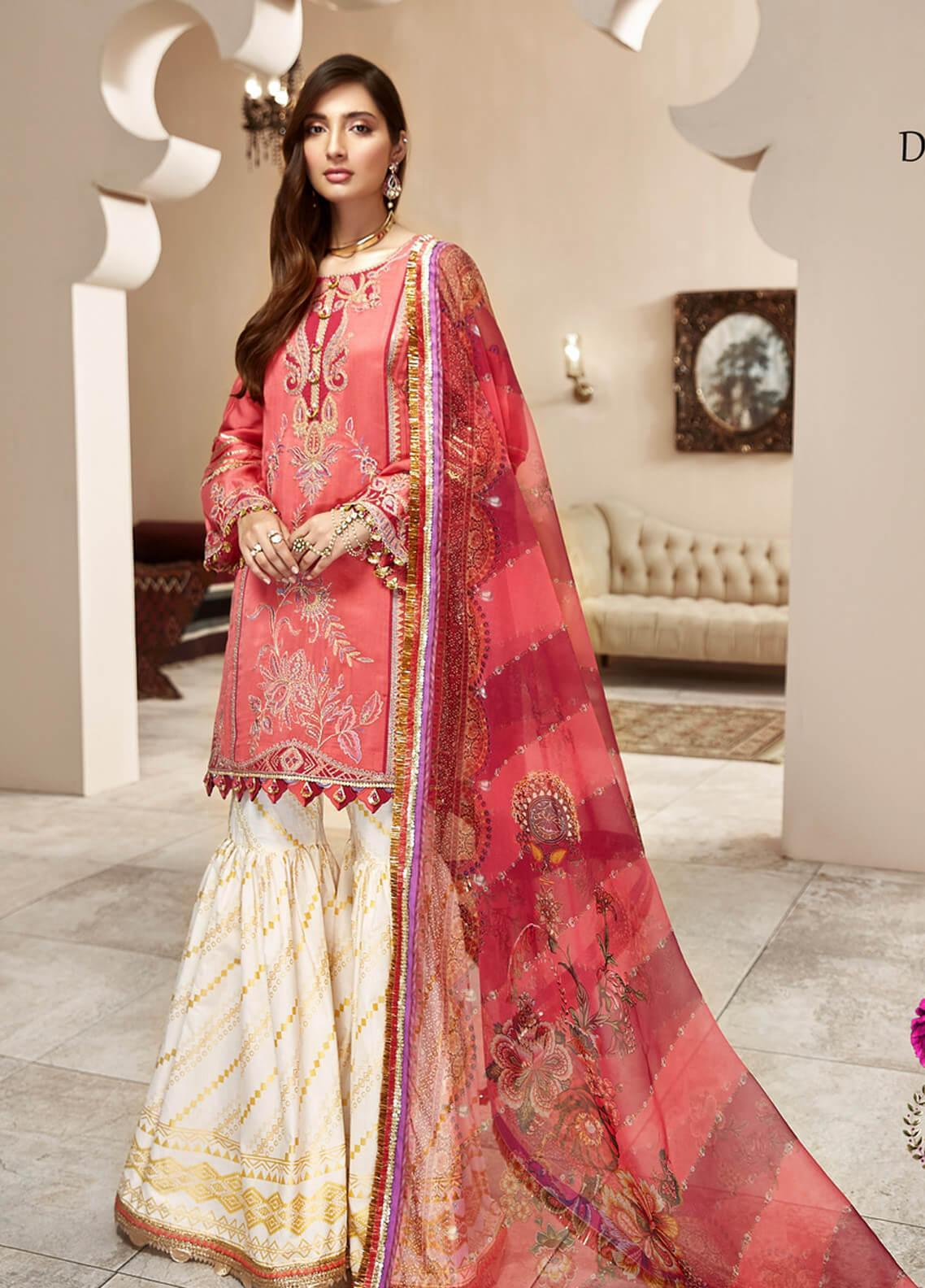 Shanaya by Saadia Asad Embroidered Cotton Net Unstitched 3 Piece Suit SA20SH D6-A - Festive Collection