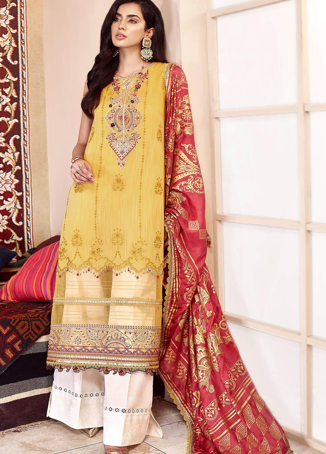 Shanaya by Saadia Asad Embroidered Cotton Net Unstitched 3 Piece Suit SA20SH D7-A - Festive Collection
