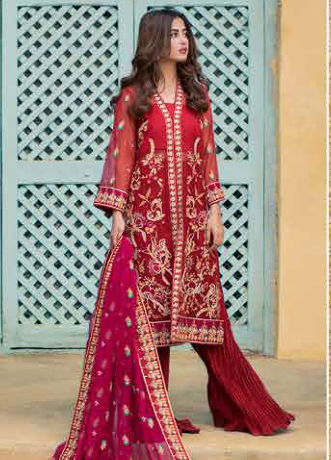 Sheeba Kapadia Embroidered Cotton Net Unstitched 3 Piece Suit SHK19F ARINNA - Formal Collection
