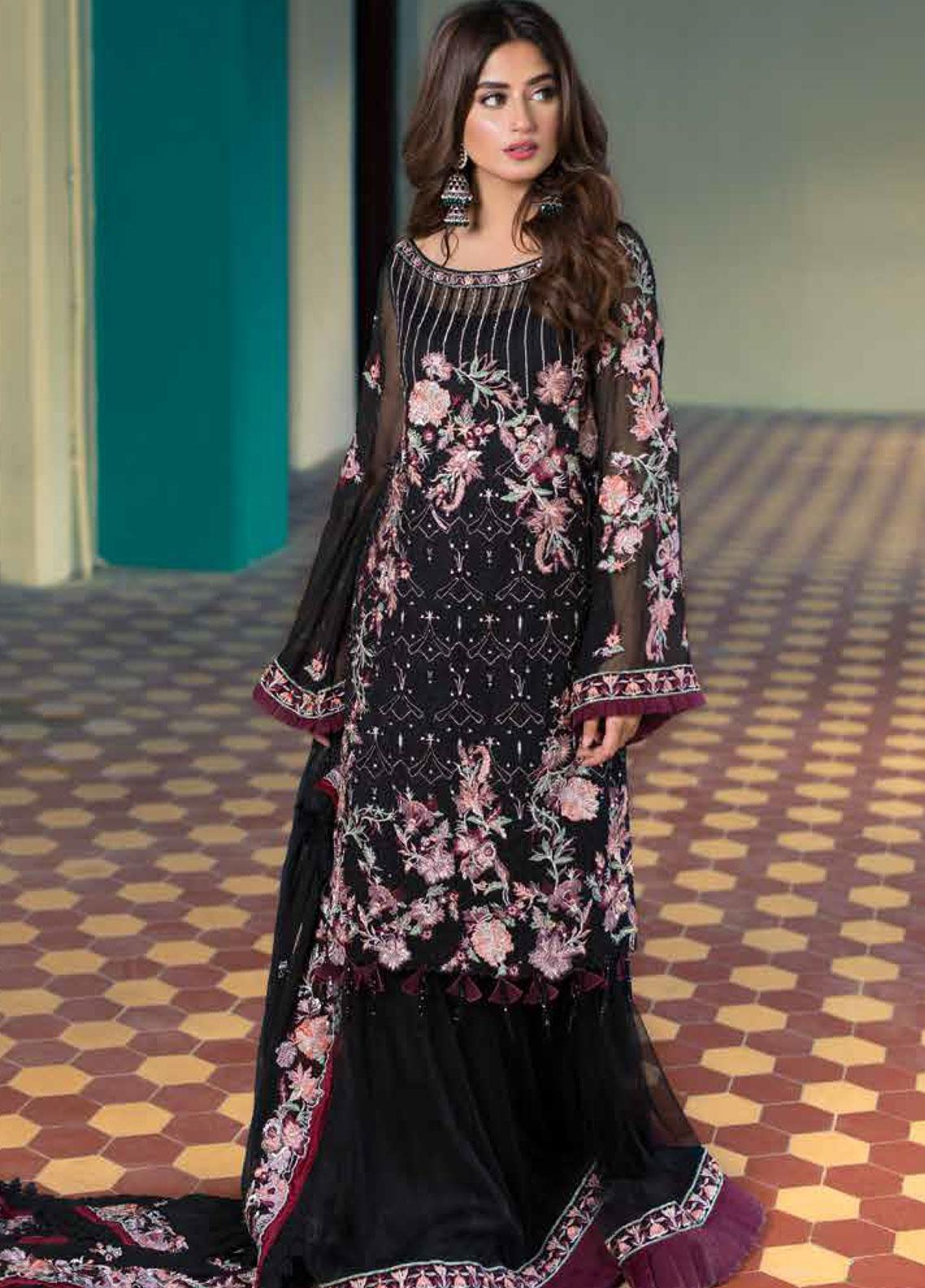 Sheeba Kapadia Embroidered Chiffon Unstitched 3 Piece Suit SHK19F ASTREA - Formal Collection