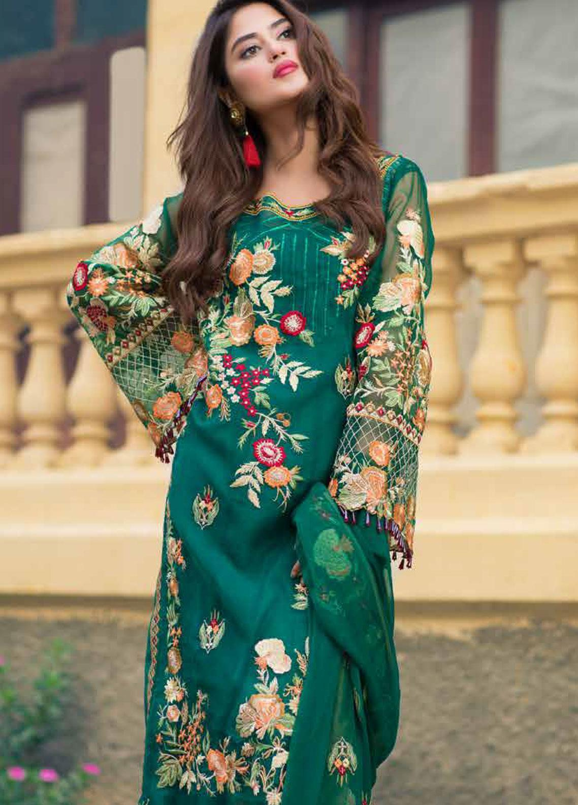 Sheeba Kapadia Embroidered Organza Unstitched 3 Piece Suit SHK19F POLIBIA - Formal Collection