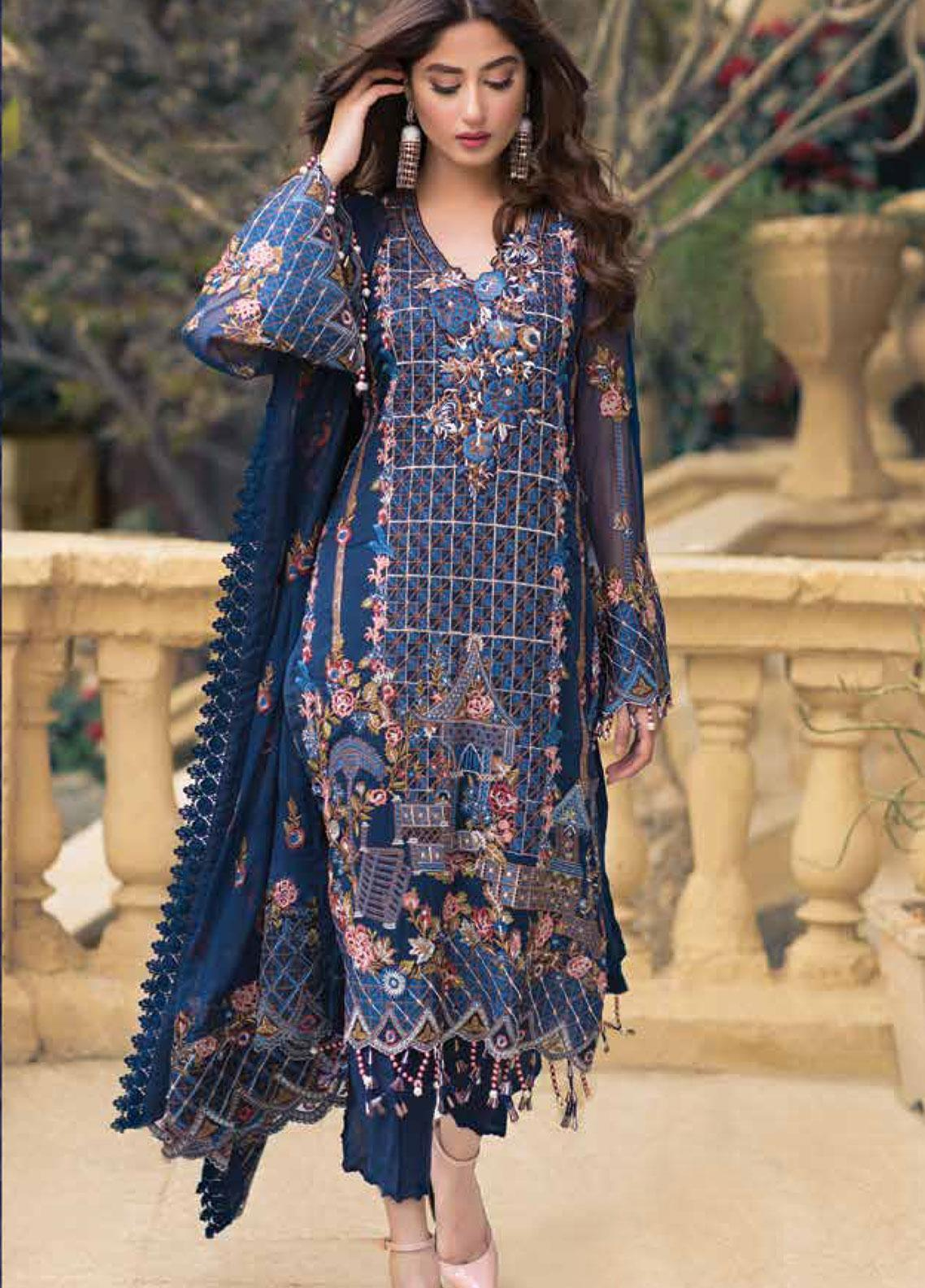 Sheeba Kapadia Embroidered Chiffon Unstitched 3 Piece Suit SHK19F WILONA - Formal Collection