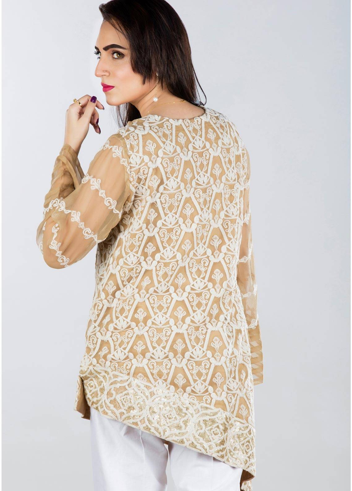 Sheqe Embroidered  Stitched Kurtis SHQ18K C-009 FAWN
