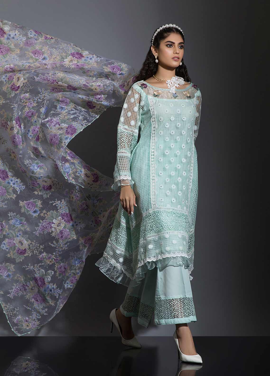 Sidra Mumtaz Embroidered Cotton Net Stitched 3 Piece Suit BARAN