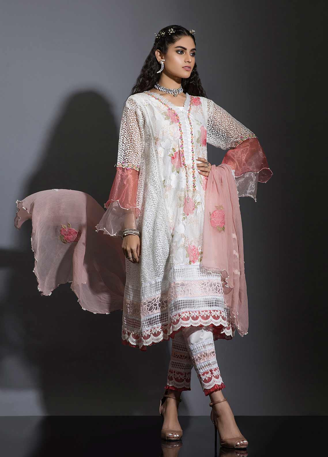 Sidra Mumtaz Embroidered Cotton Net Stitched 3 Piece Suit JOON