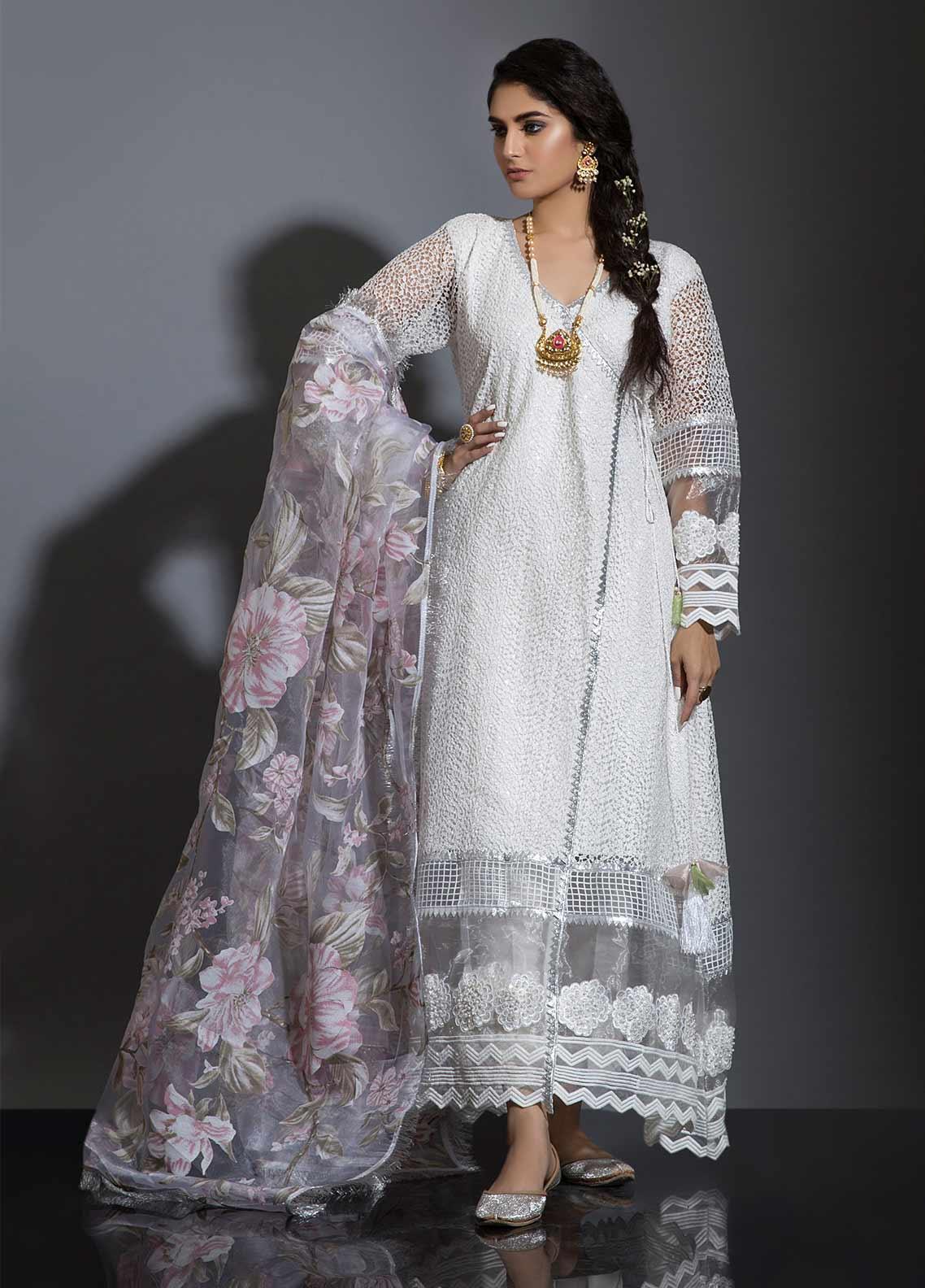 Sidra Mumtaz Embroidered Cotton Net Stitched 3 Piece Suit PAKEEZA