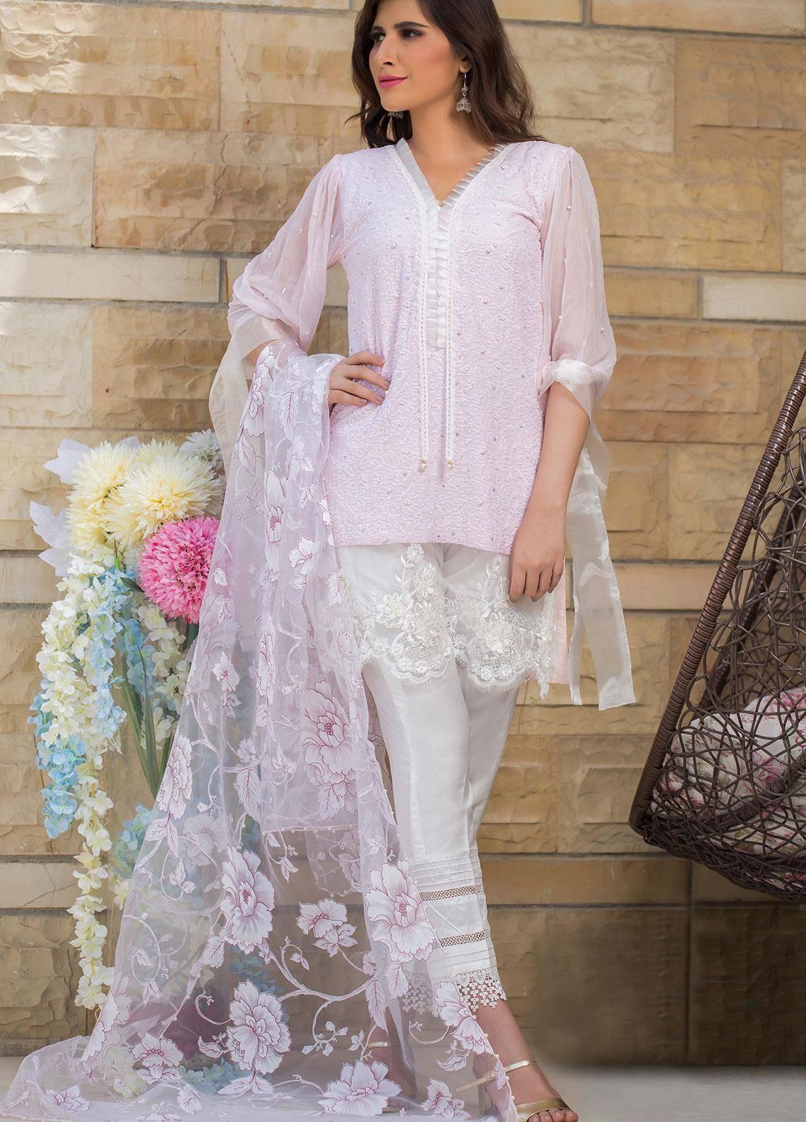 Sidra Mumtaz Embroidered Schiffli Stitched 3 Piece Suit SEASHELL PINK
