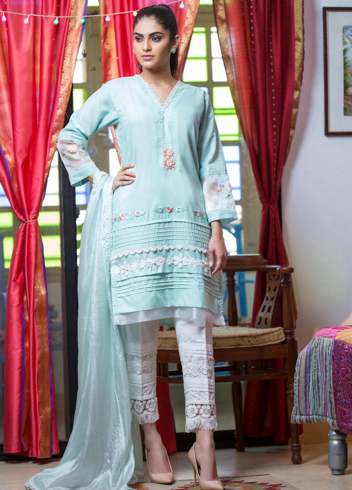 Sidra Mumtaz Embroidered Cotton Silk Stitched 3 Piece Suit DEER DAHLSTAR