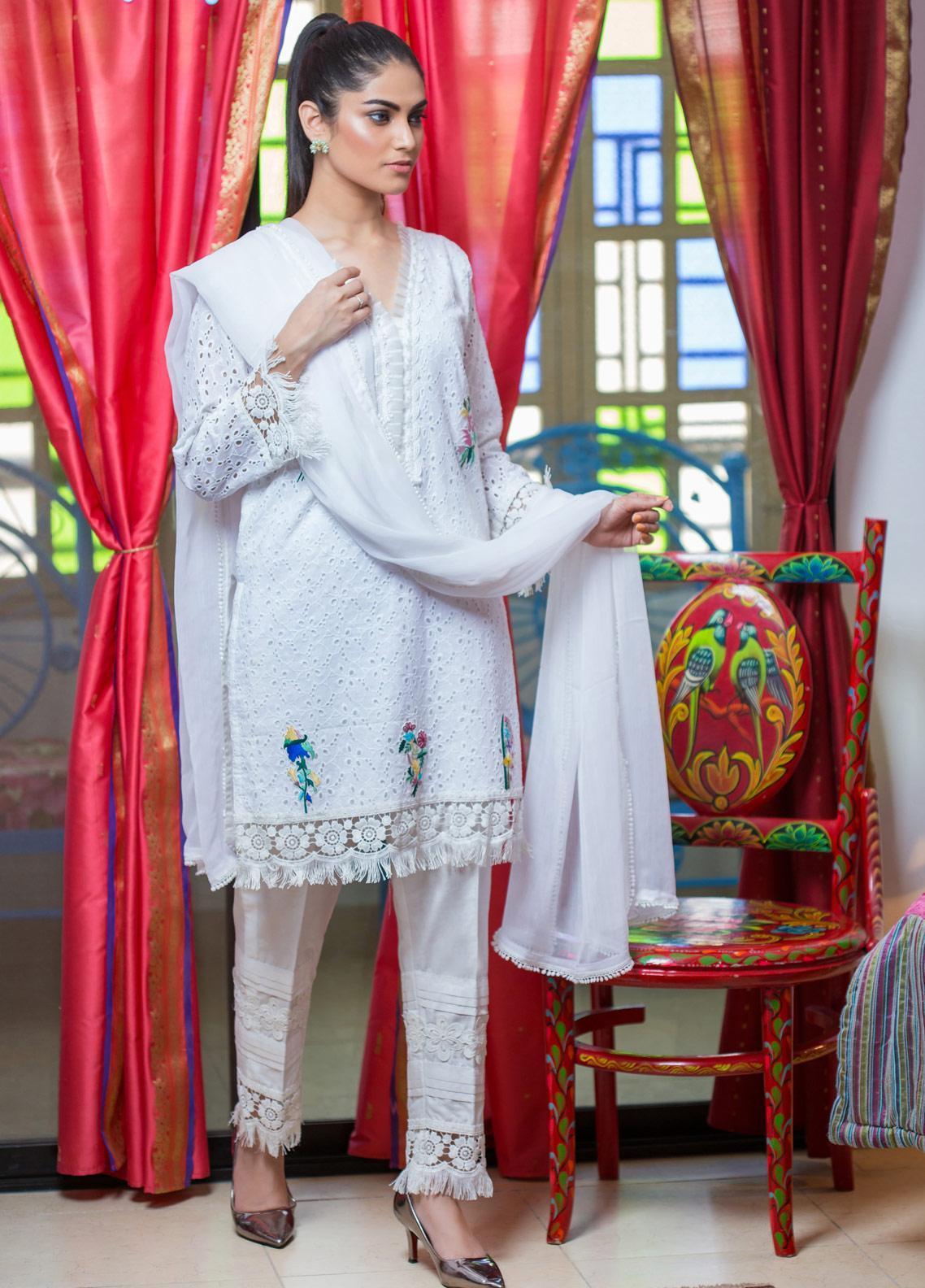 Sidra Mumtaz Embroidered Schiffli Stitched 3 Piece Suit DUSKY CAMEO