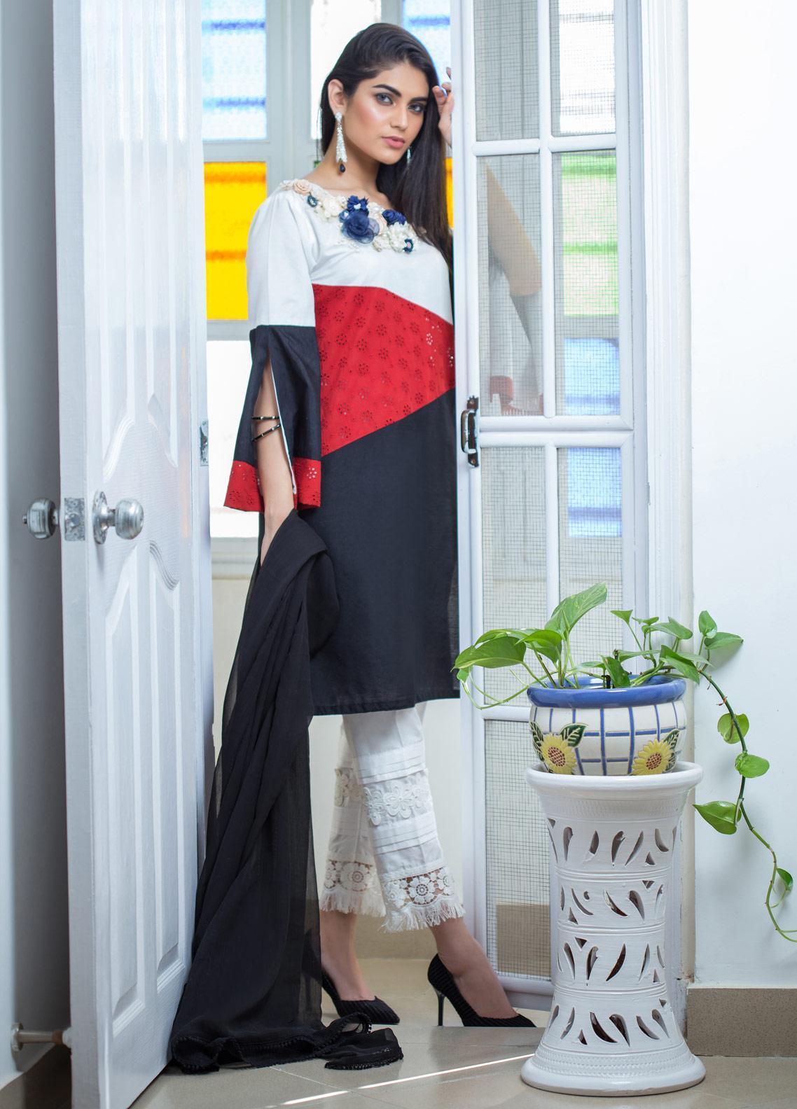 Sidra Mumtaz Embroidered Cotton Silk Stitched 3 Piece Suit OMBRE BLUSH DUET