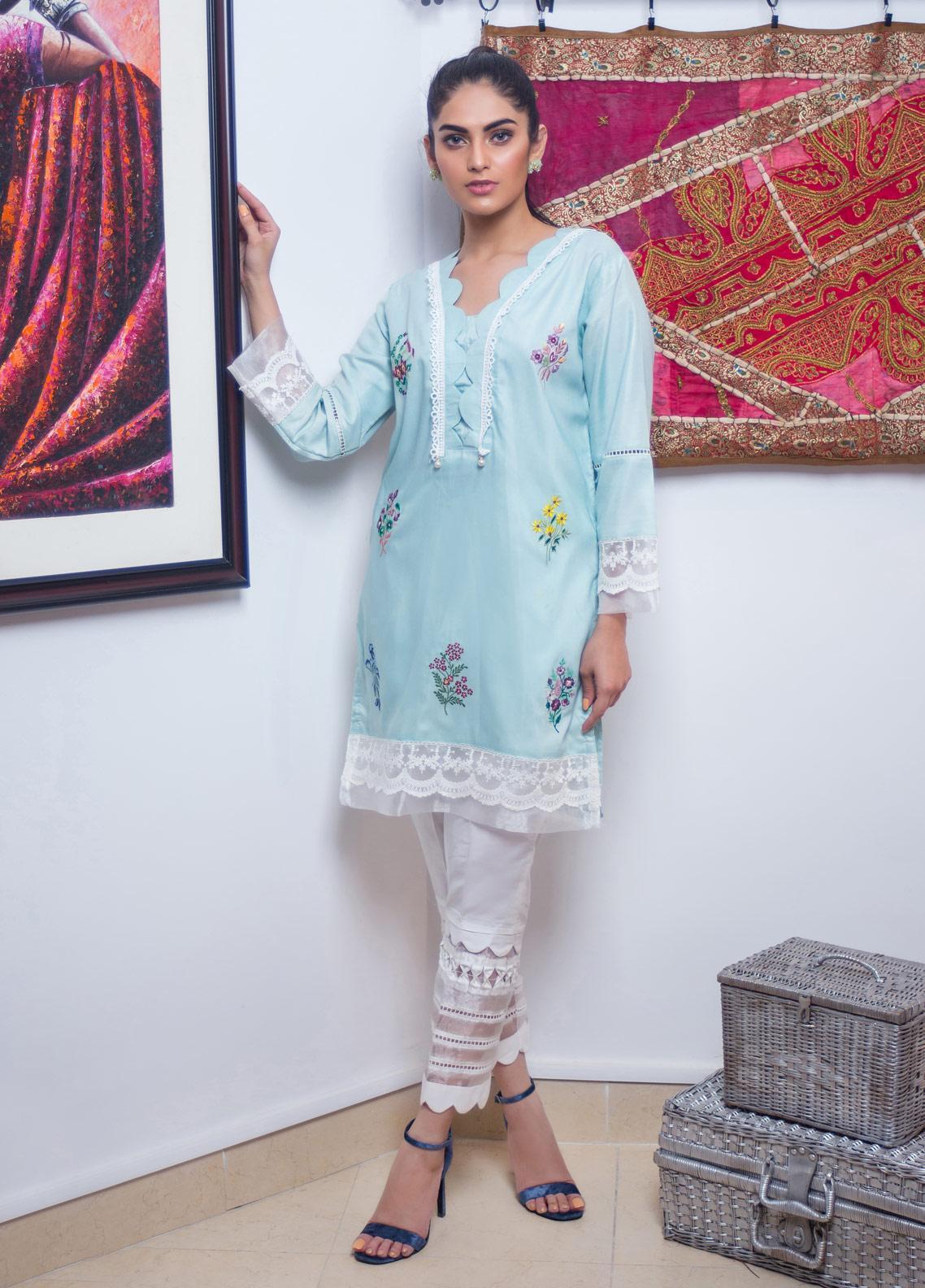 Sidra Mumtaz Embroidered Cotton Silk Stitched 3 Piece Suit VIRIDESCENT APRIL DAWN