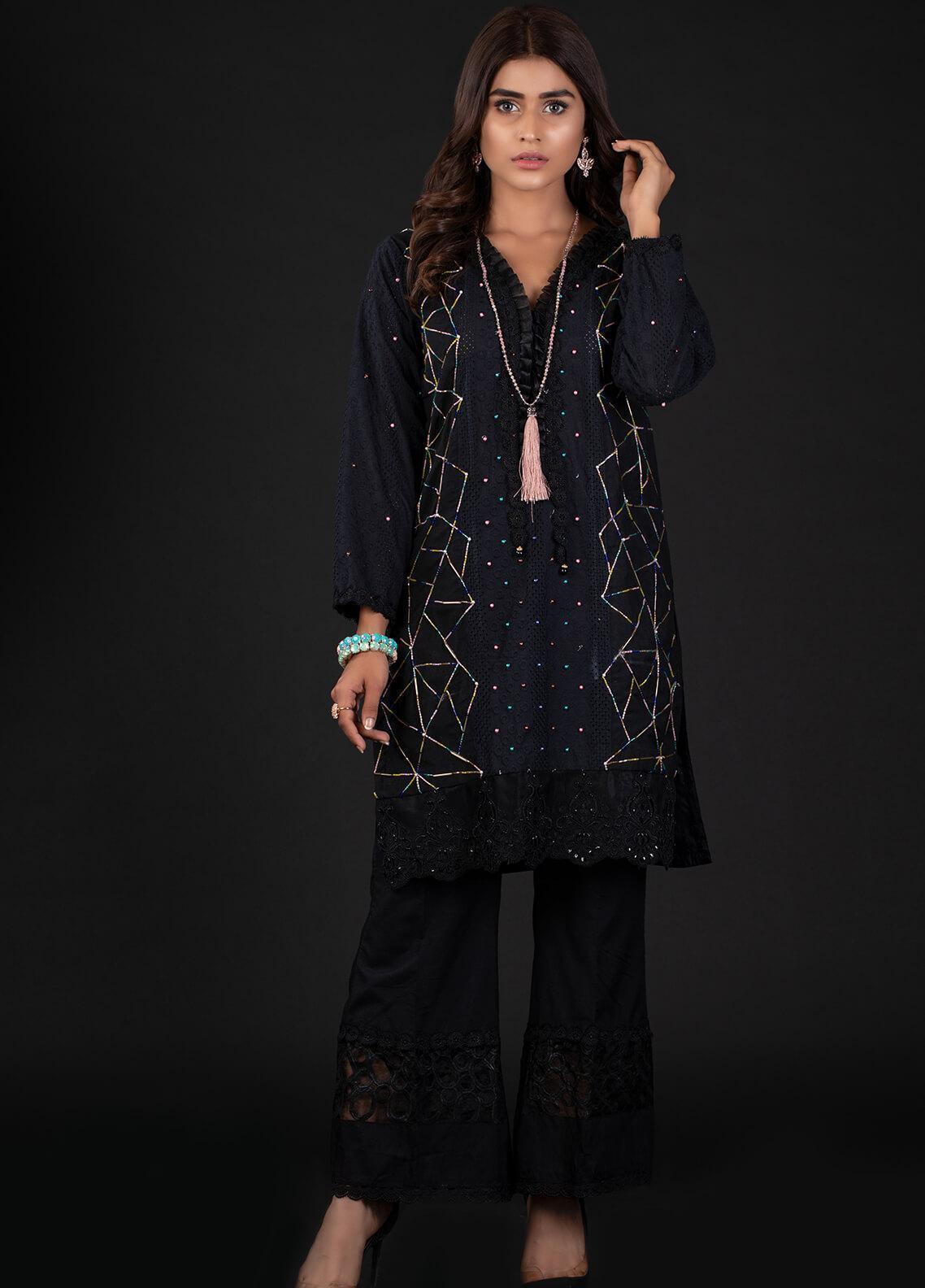 Sidra Mumtaz Embroidered Schiffli Stitched 2 Piece Suit 1B ASTRATTO