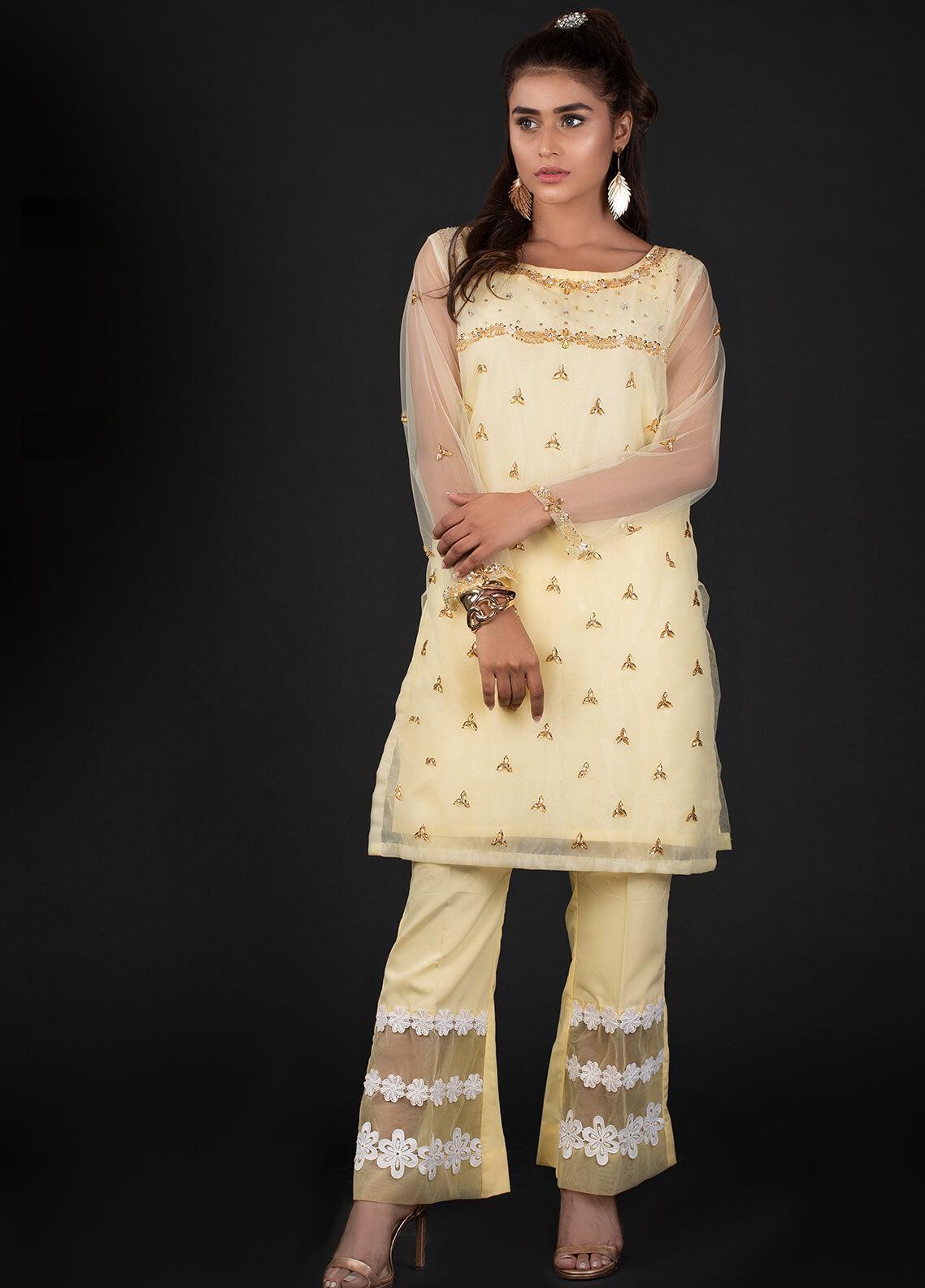 Sidra Mumtaz Embroidered Organza Stitched 2 Piece Suit 2A DIMANTI