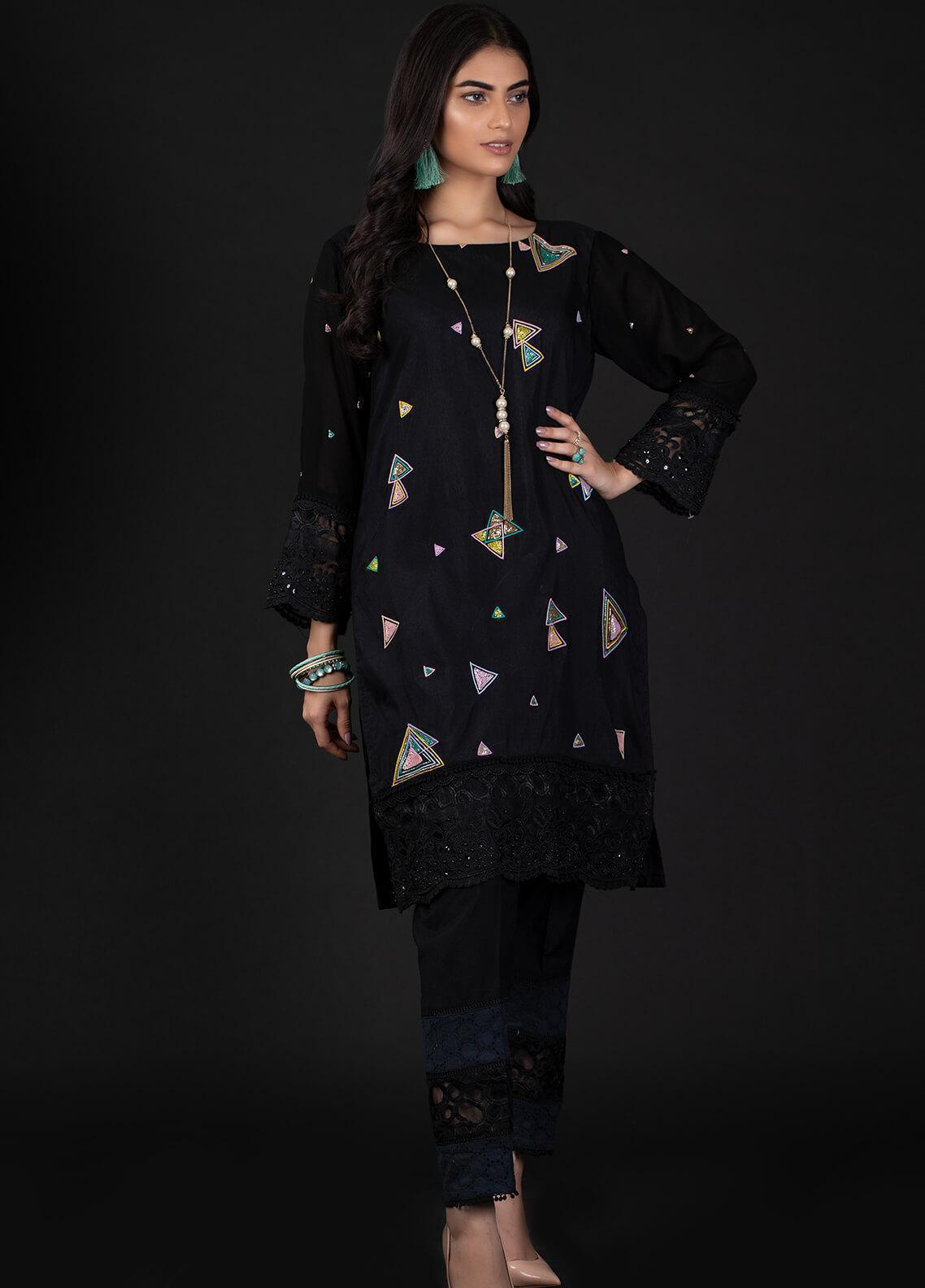 Sidra Mumtaz Embroidered Cotton Silk Stitched 2 Piece Suit 6B TRIANGLO