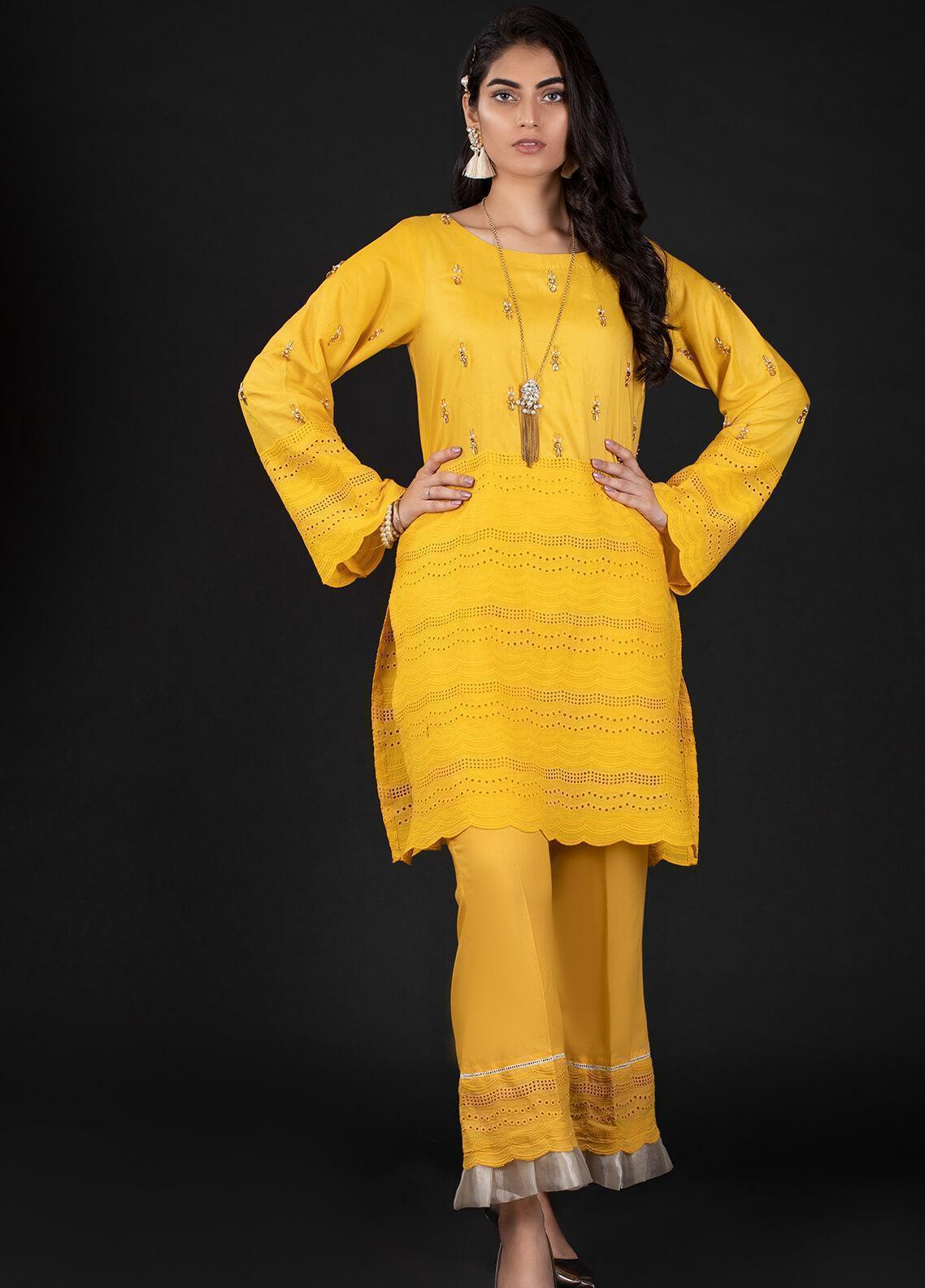 Sidra Mumtaz Embroidered Schiffli Stitched 2 Piece Suit 8 CAPESANTE
