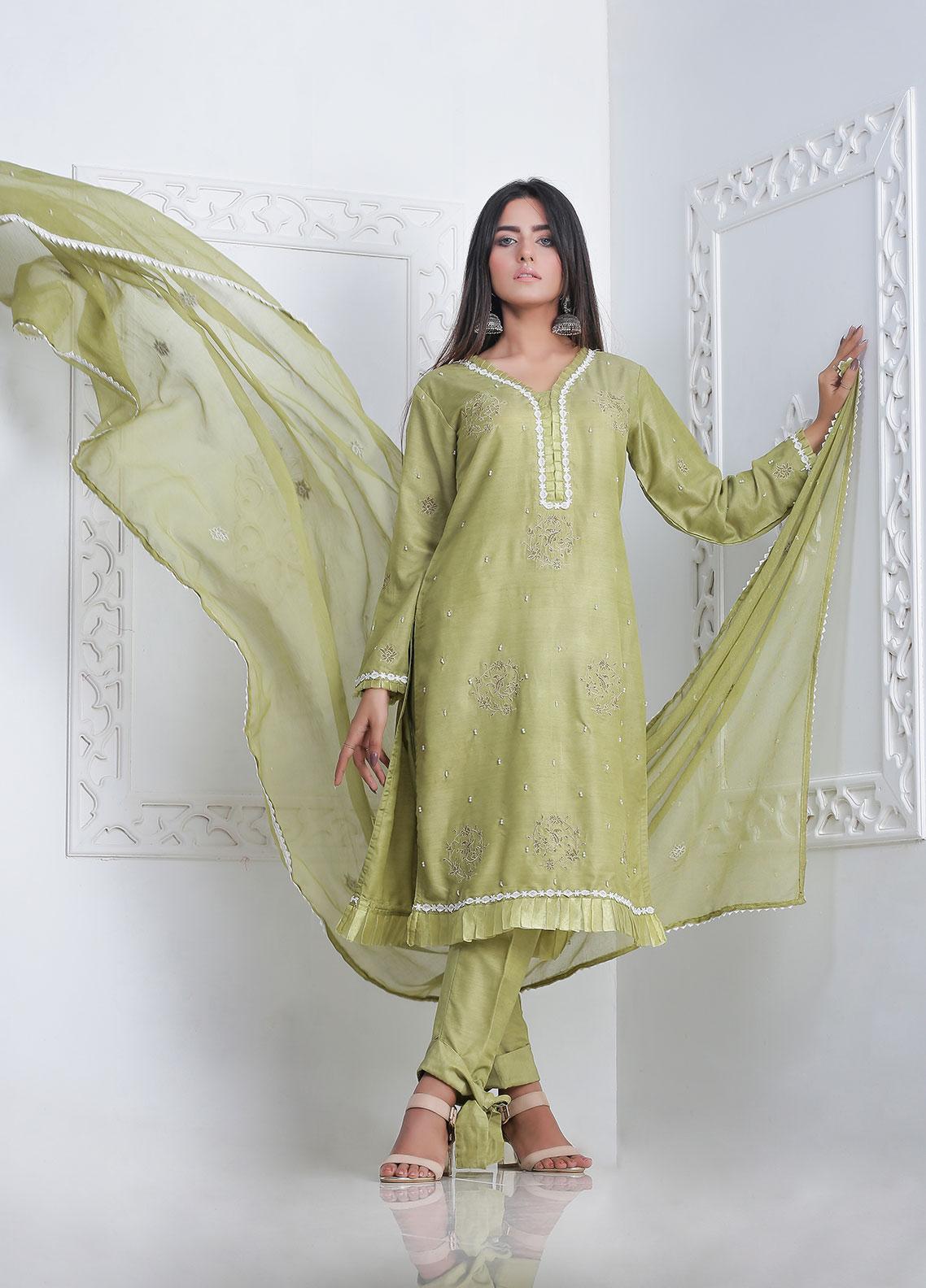 Sidra Mumtaz Embroidered Cotton Silk Stitched 3 Piece Suit FIROJA