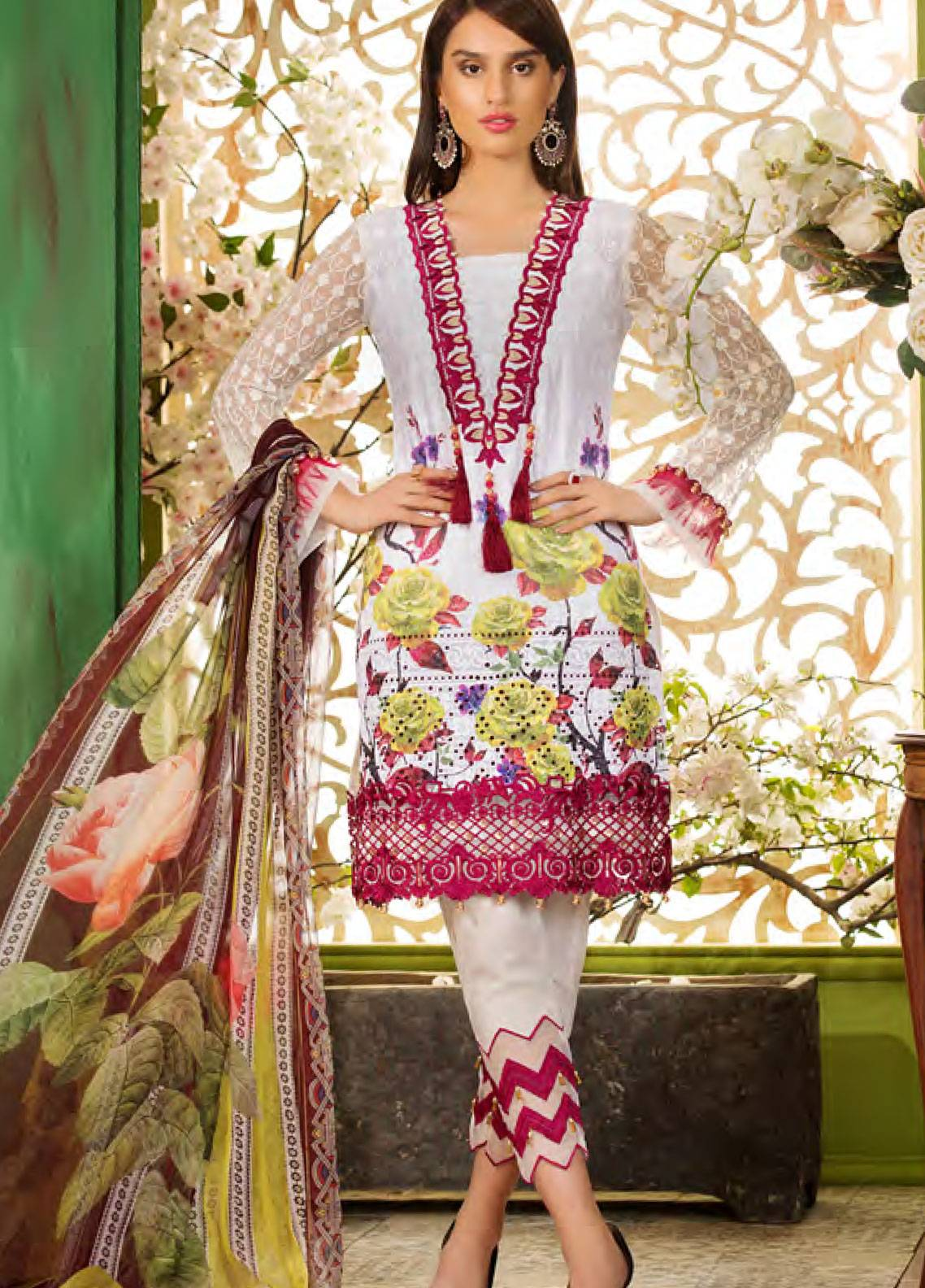 Sifona Embroidered Chikankari Unstitched 3 Piece Suit SFA19CK 05 SNOWY CRIMSON - Luxury Collection