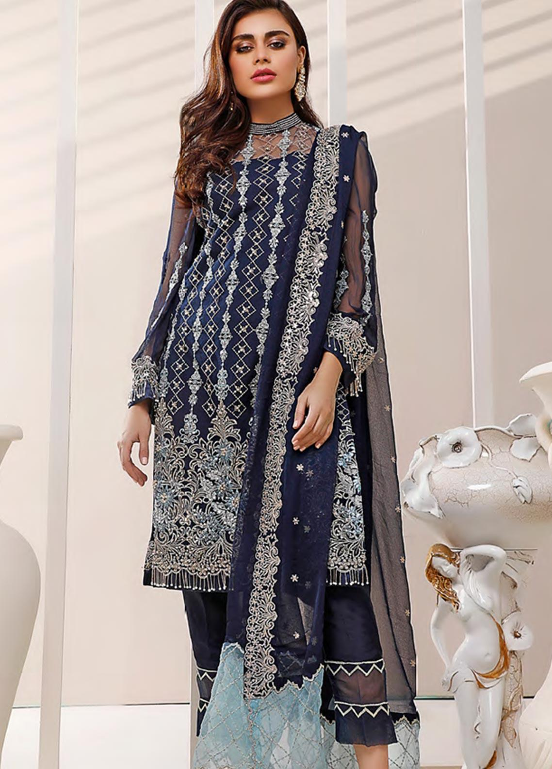 Sifona Embroidered Net Unstitched 3 Piece Suit SF20N 01 MIDNIGHT BLUE - Luxury Collection