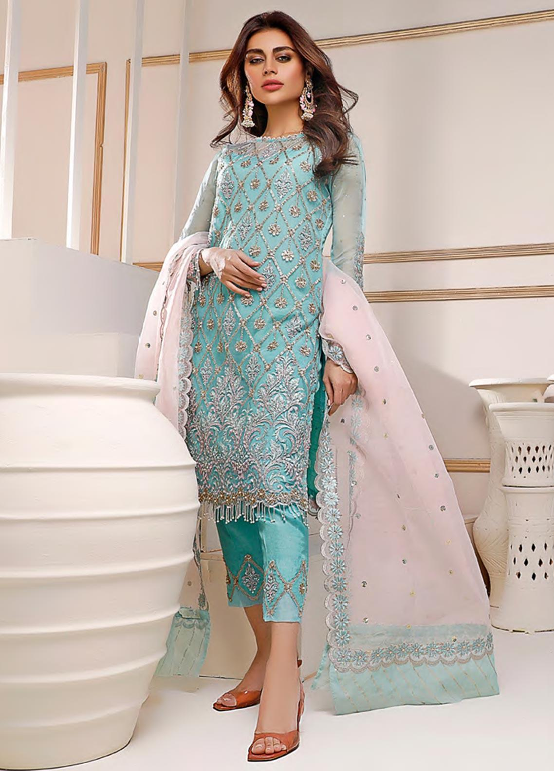 Sifona Embroidered Net Unstitched 3 Piece Suit SF20N 02 RADIANT TURQUOISE - Luxury Collection