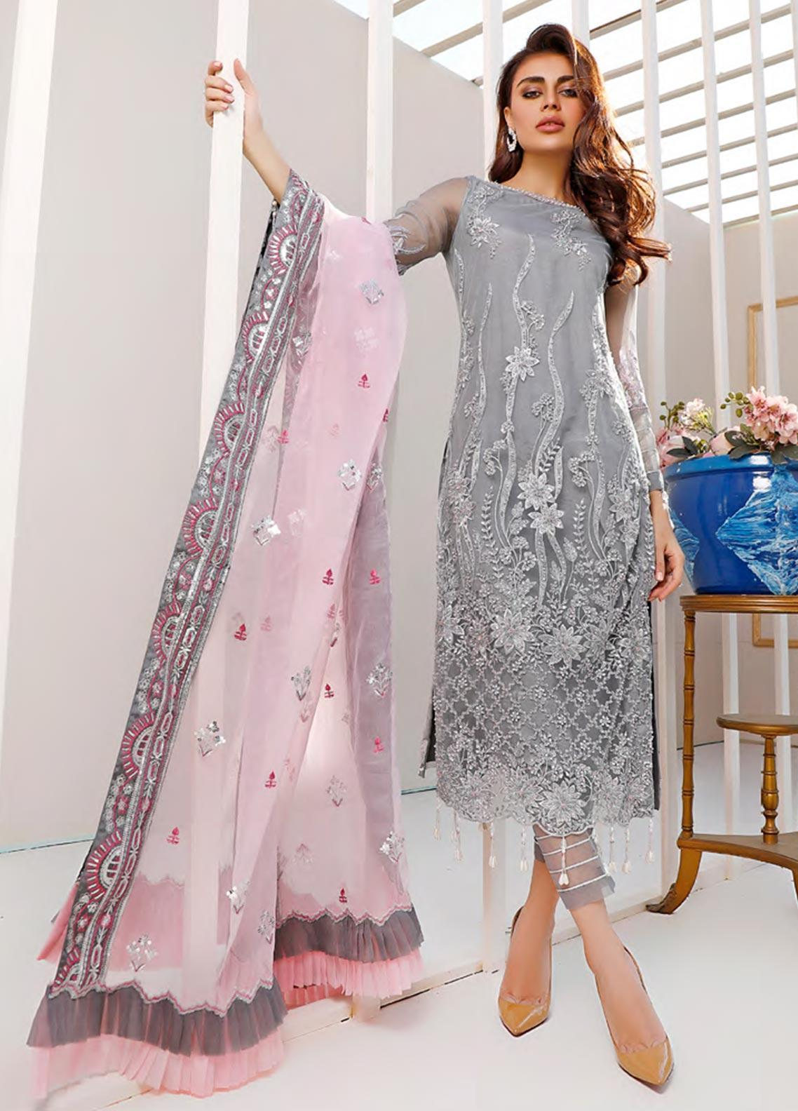Sifona Embroidered Net Unstitched 3 Piece Suit SF20N 03 MAJESTIC DREAMS - Luxury Collection