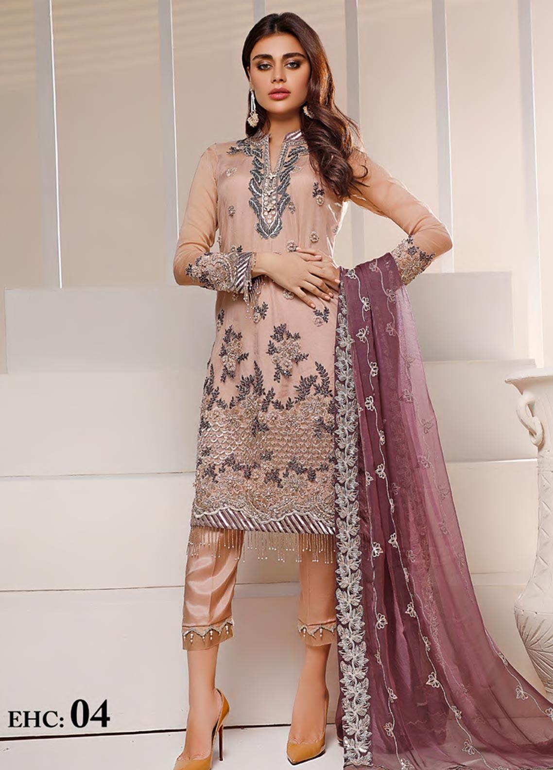 Sifona Embroidered Net Unstitched 3 Piece Suit SF20N 04 ROYAL SANGRIA - Luxury Collection