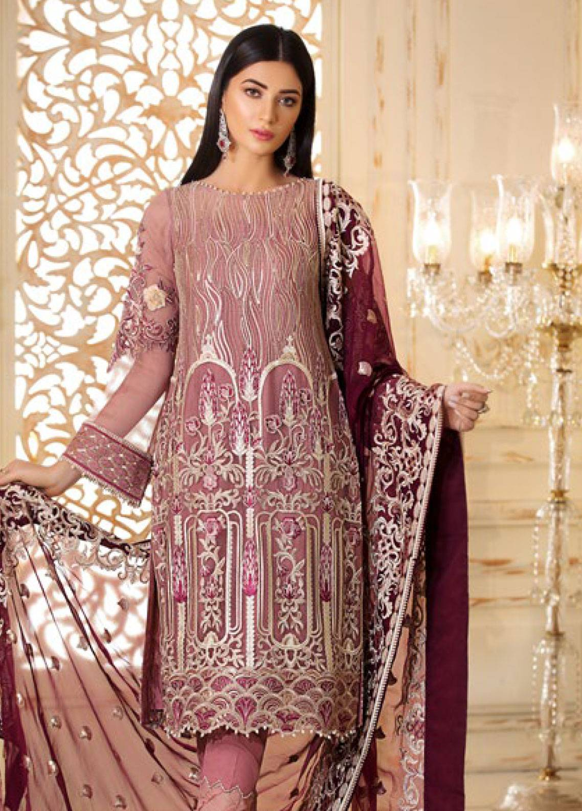 Sifona Elmas Embroidered Chiffon Unstitched 3 Piece Suit SFE19C 01 CALAMINE DELIGHT - Luxury Collection