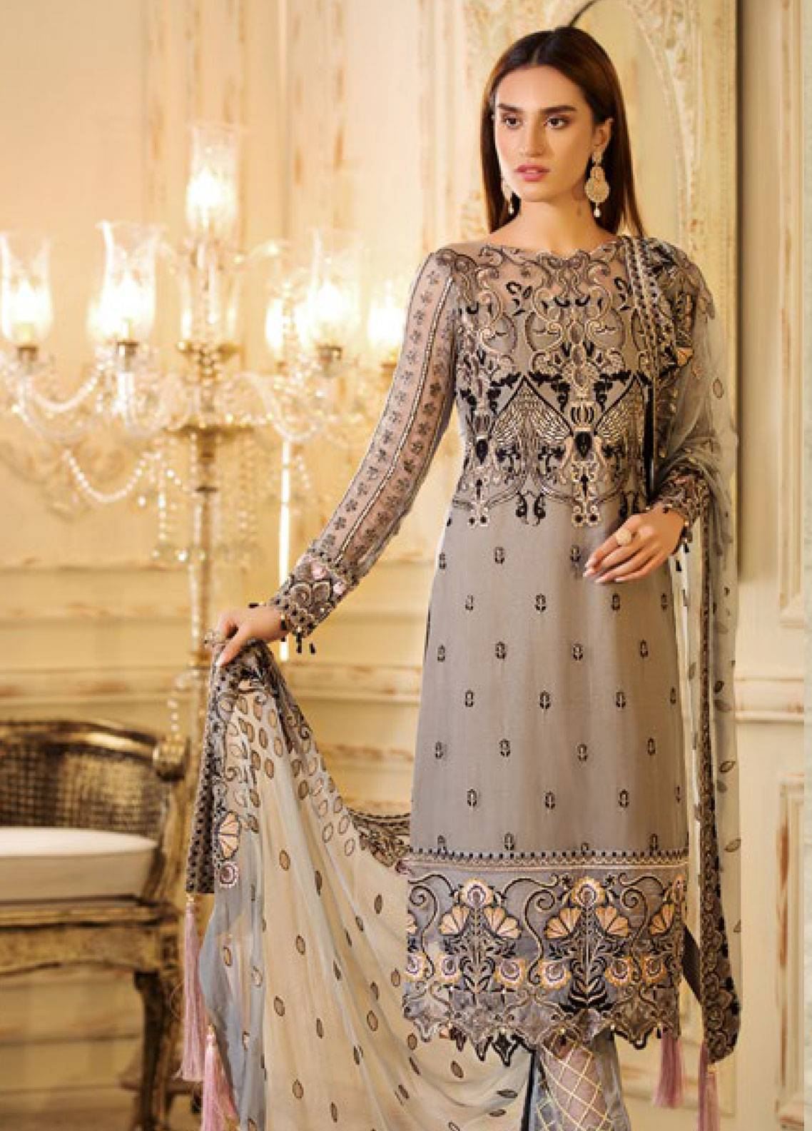 Sifona Elmas Embroidered Chiffon Unstitched 3 Piece Suit SFE19C 04 SLATE DESIRE - Luxury Collection