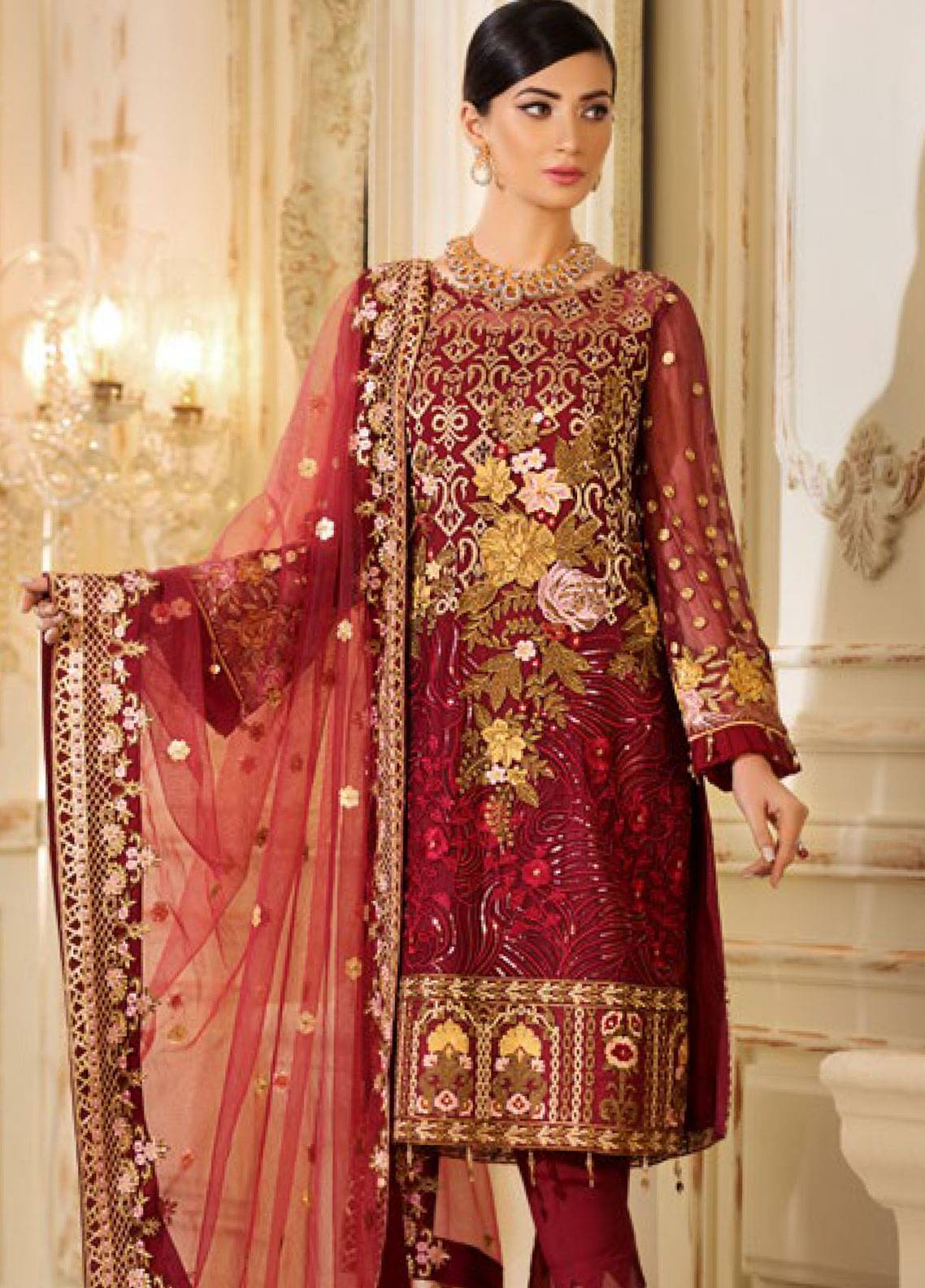 Sifona Elmas Embroidered Chiffon Unstitched 3 Piece Suit SFE19C 06 RUBY GRACE - Luxury Collection