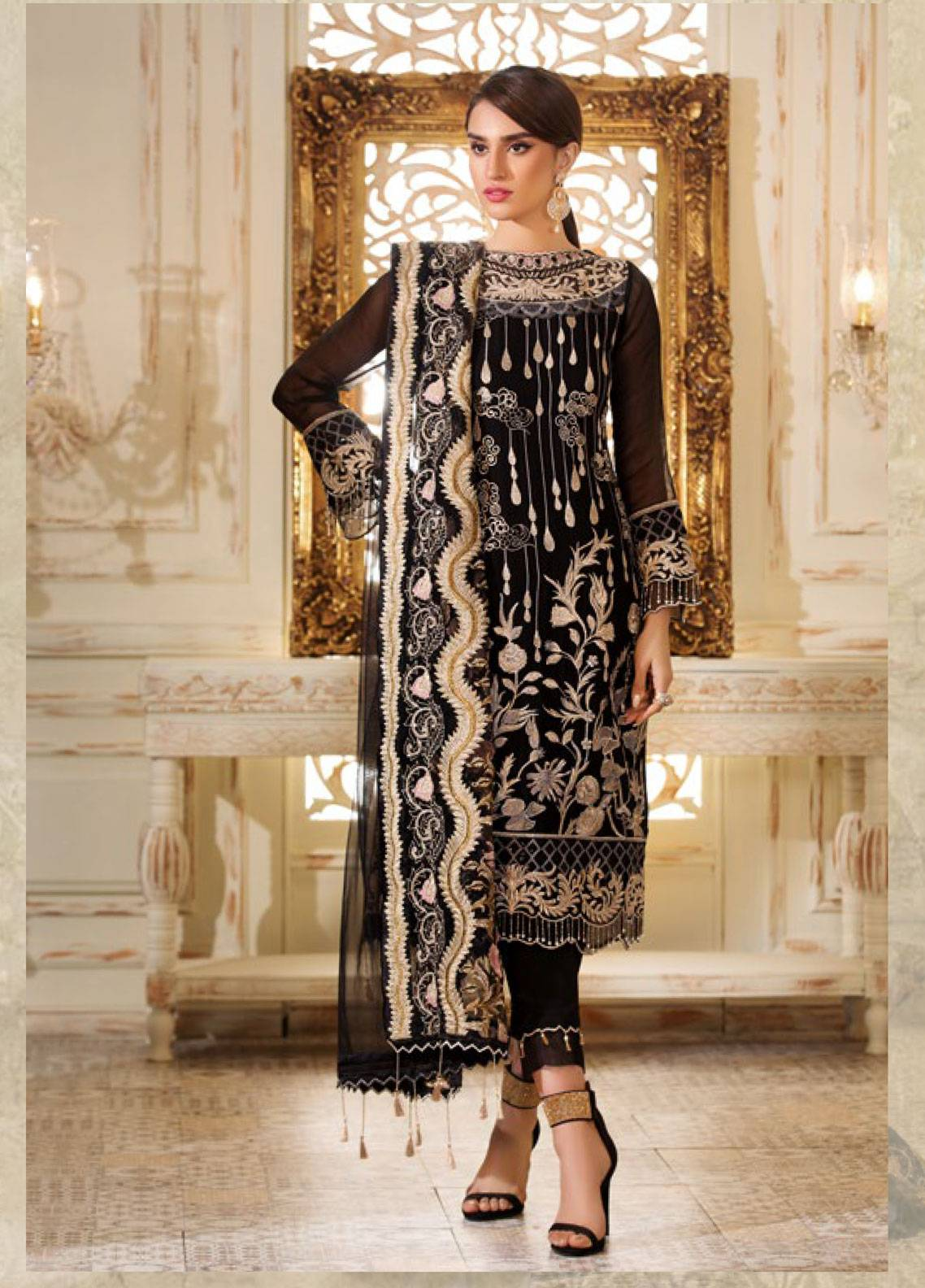 Sifona Elmas Embroidered Chiffon Unstitched 3 Piece Suit SFE19C 07 MADEMAISELLE - Luxury Collection