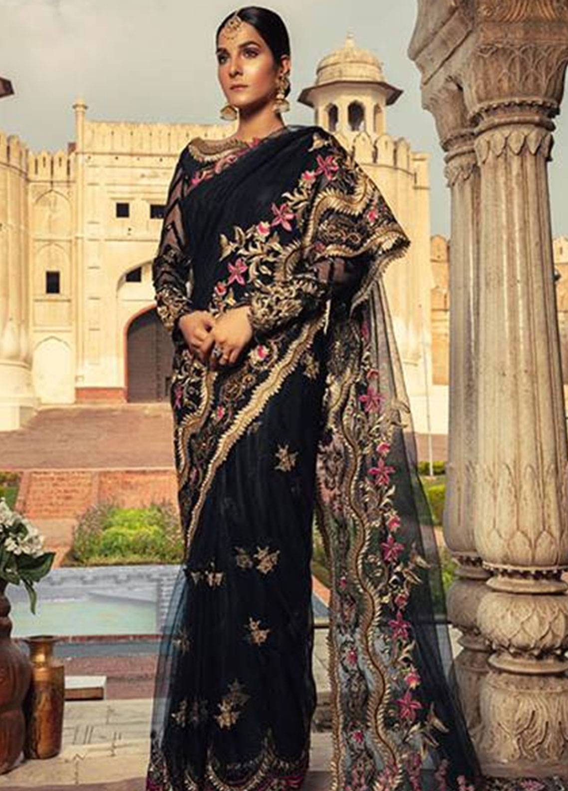 Sifona Embroidered Zari Net Unstitched Saree SFE18L 02 - Luxury Collection
