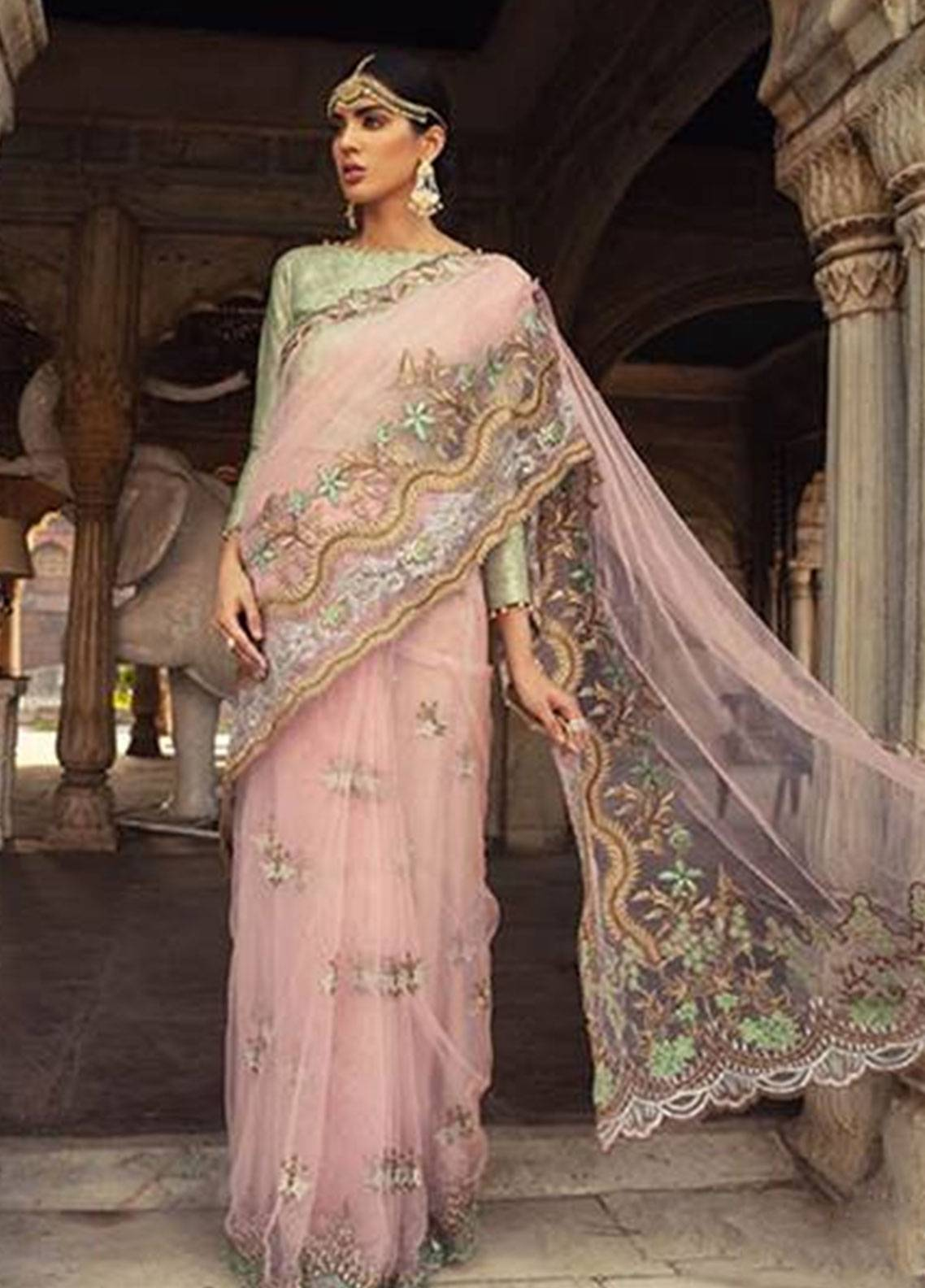 Sifona Embroidered Zari Net Unstitched Saree SFE18L 03 - Luxury Collection