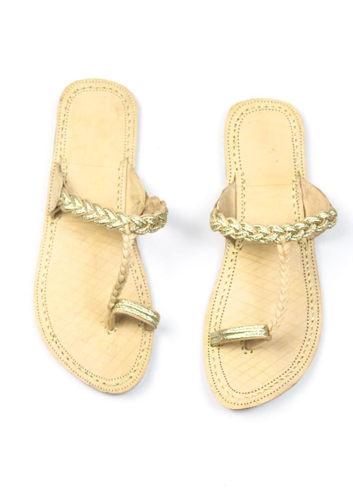 Silk Avenue Kolapuri Style Leather Flat Shoes SAF02-Gold