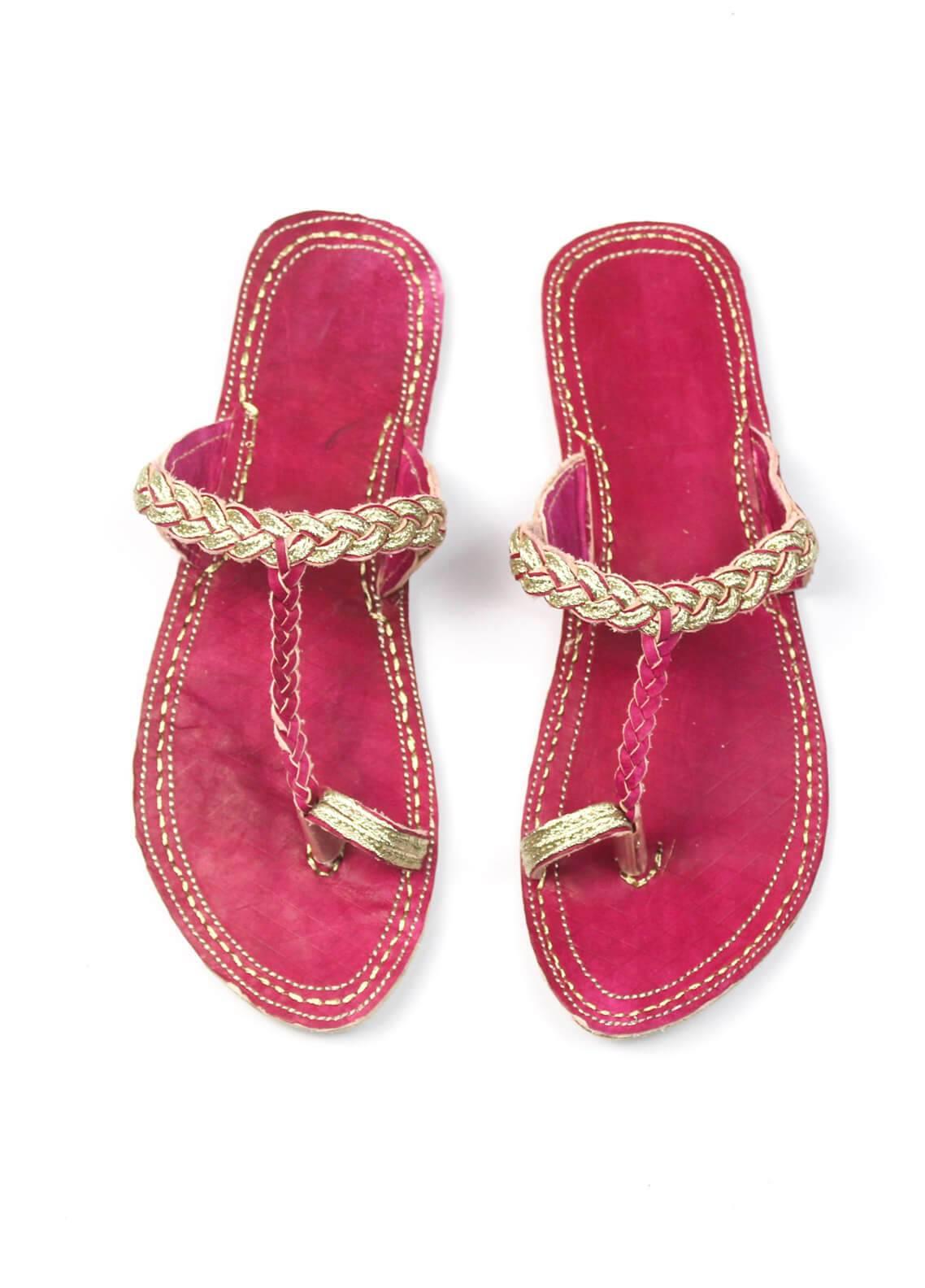 Silk Avenue Kolapuri Style Leather Flat Shoes SAF02-Pink